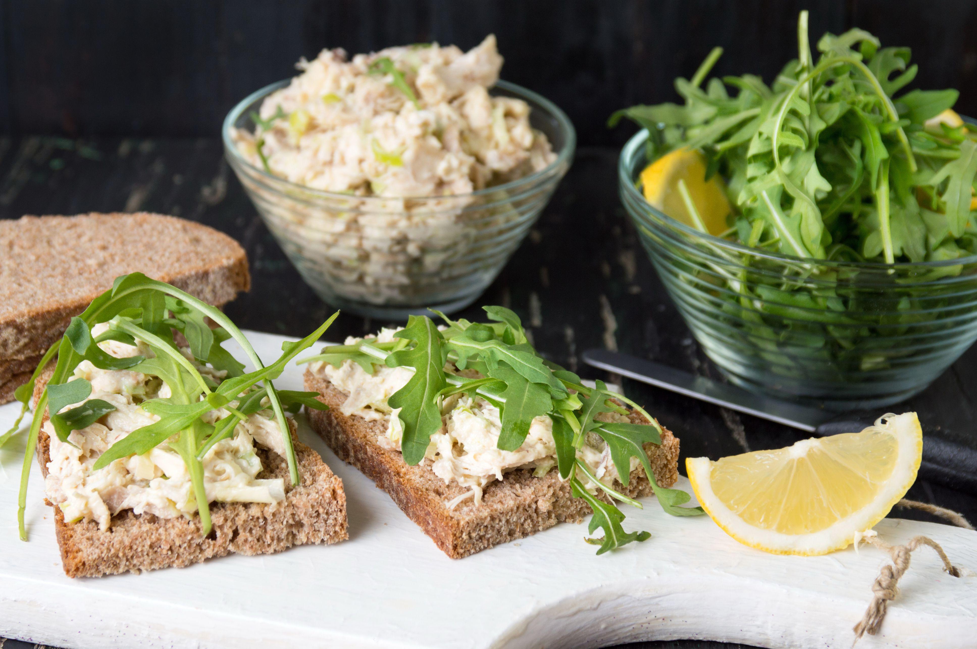 Chicken salad and arugula sandwiches