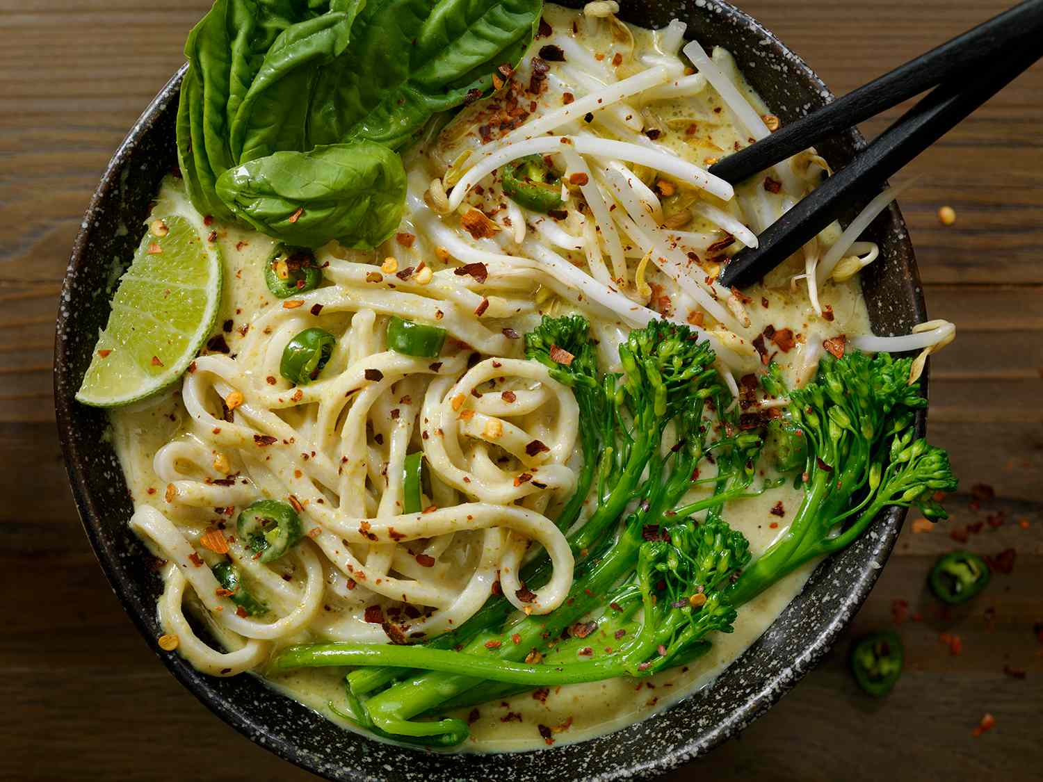 Green Curry Noodle Soup with Broccolini, Bean Sprouts and Fresh Basil