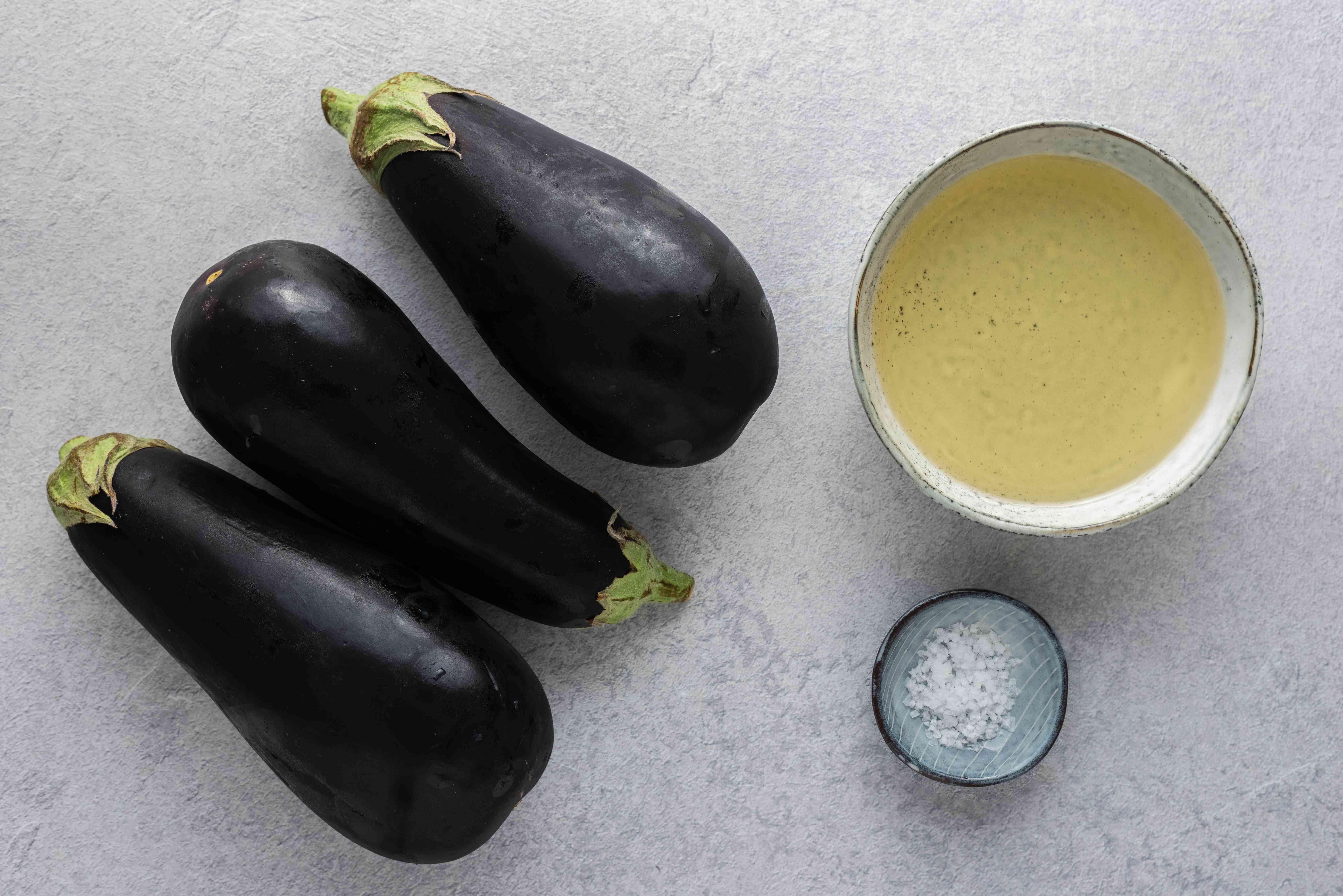 eggplants, salt and oil