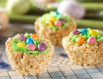 Easter rice crispy treats on countertop.