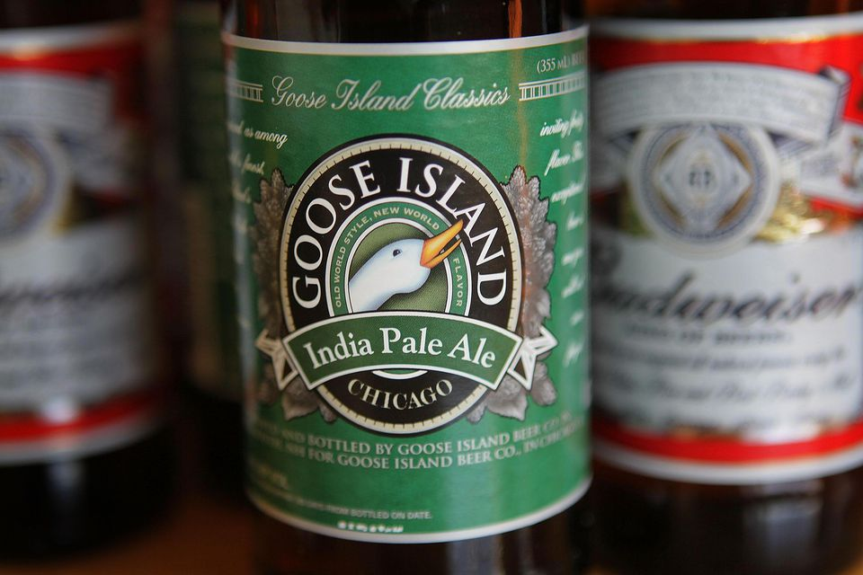Goose Island's India Pale Ale is pictured with Budweiser beer on March 29, 2011 in Chicago, Illinois.