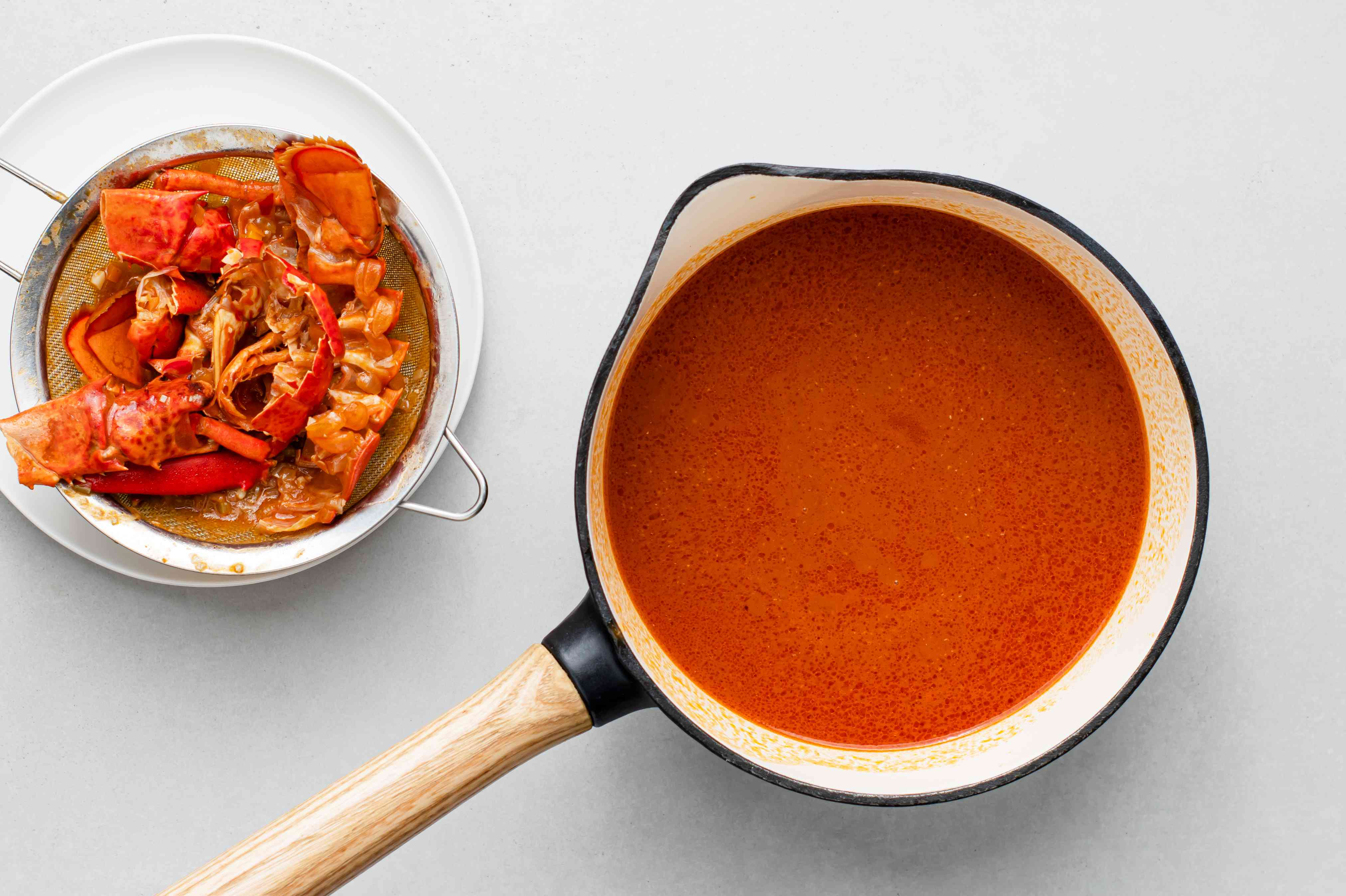 strain the sauce into a saucepan