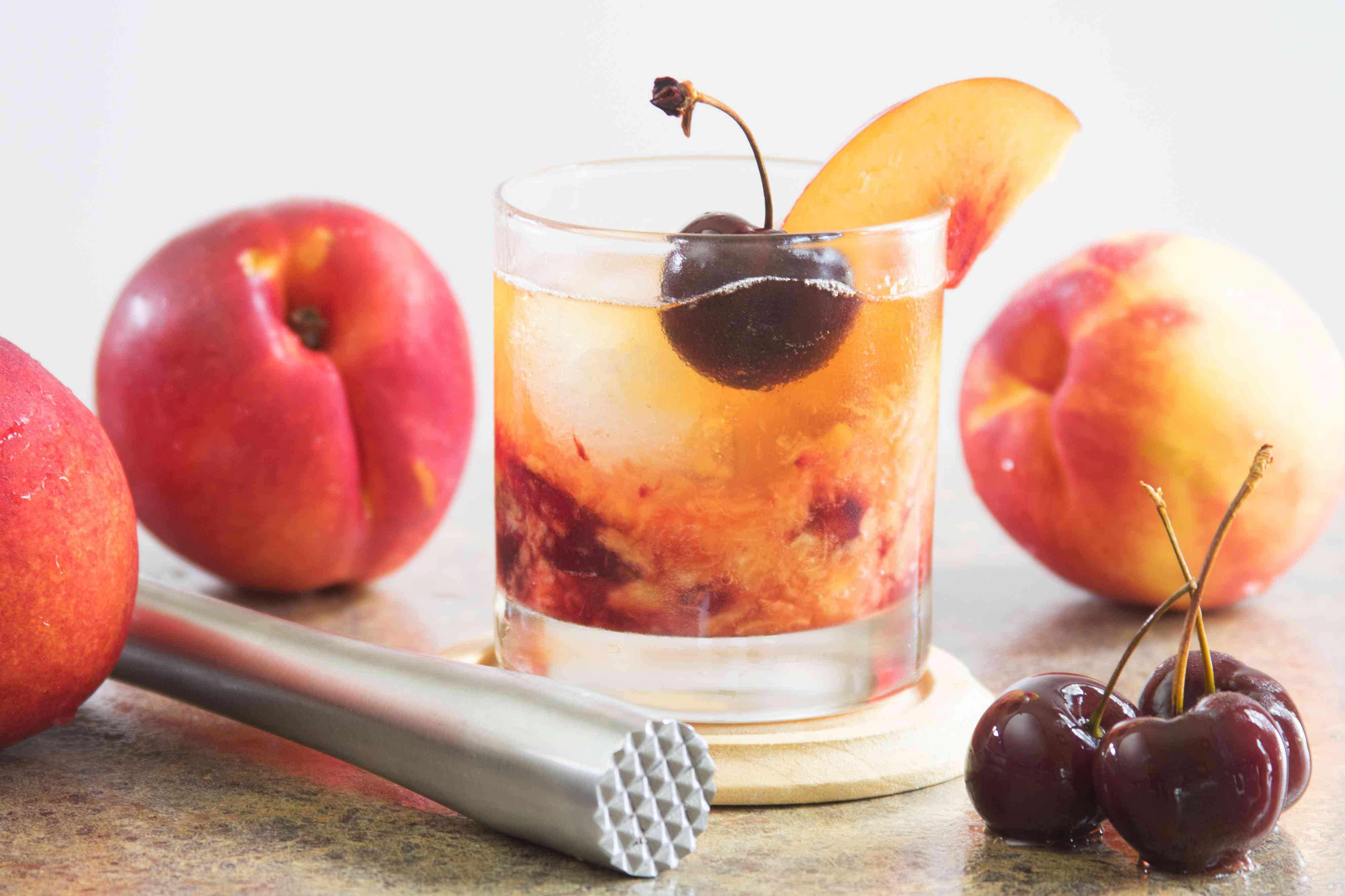 Reposado Old-Fashioned Cocktail With Tequila and Nectarines