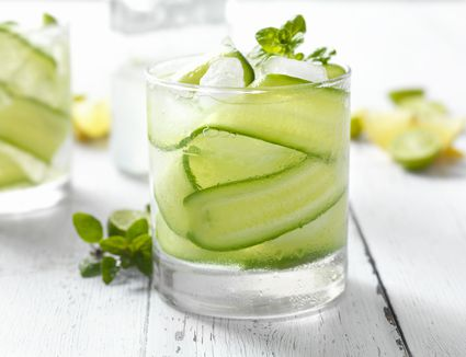 Enjoy the clean, crisp taste of a cucumber cocktail.