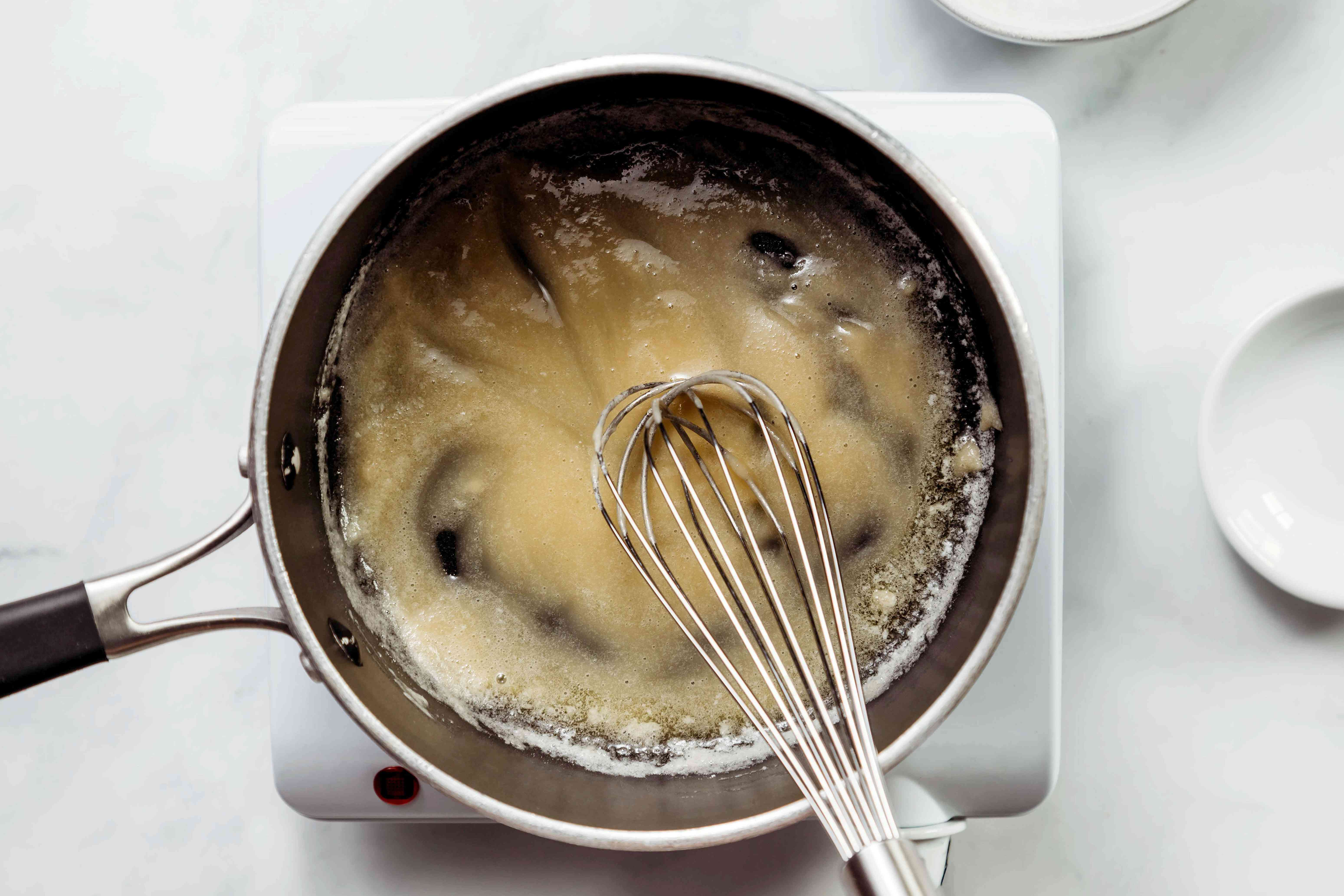 Butter and flour mixture whisked together in a saucepan