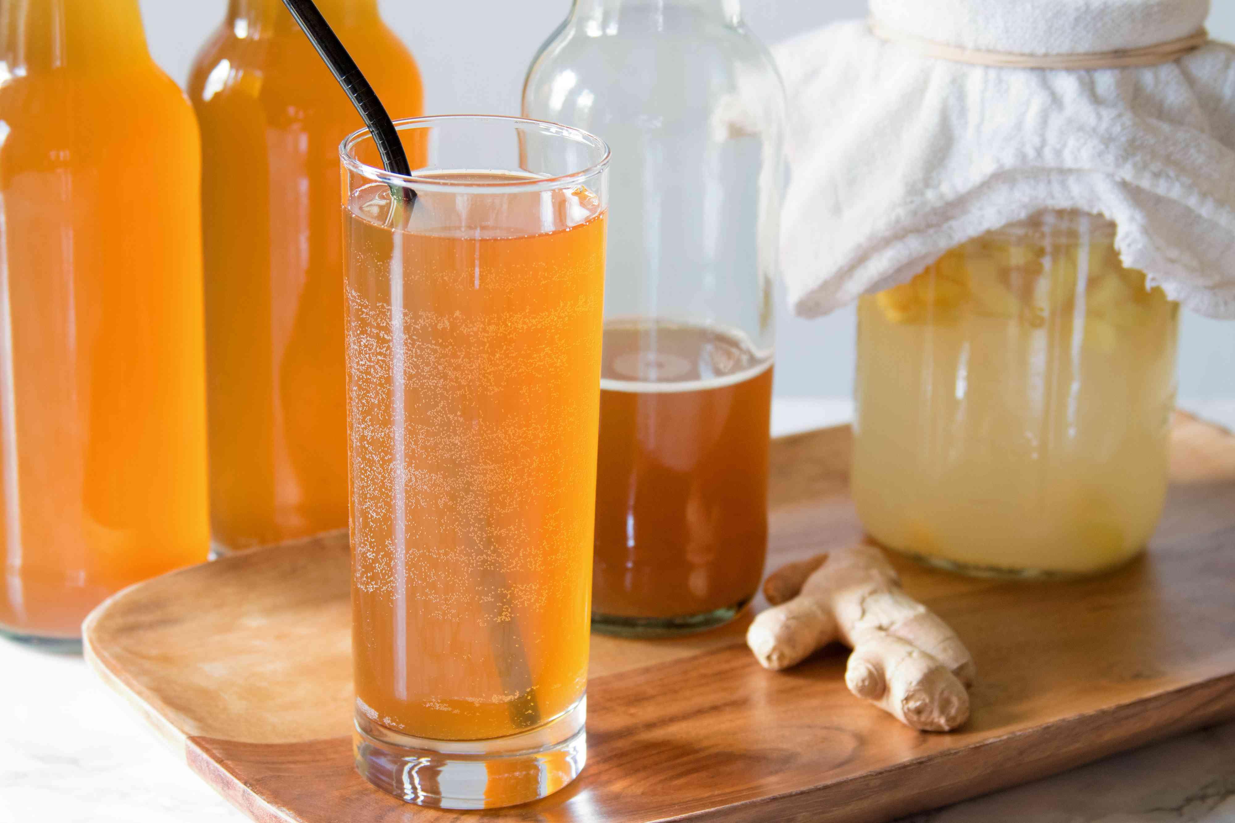 Homemade Ginger Soda With Fermented Ginger Bug