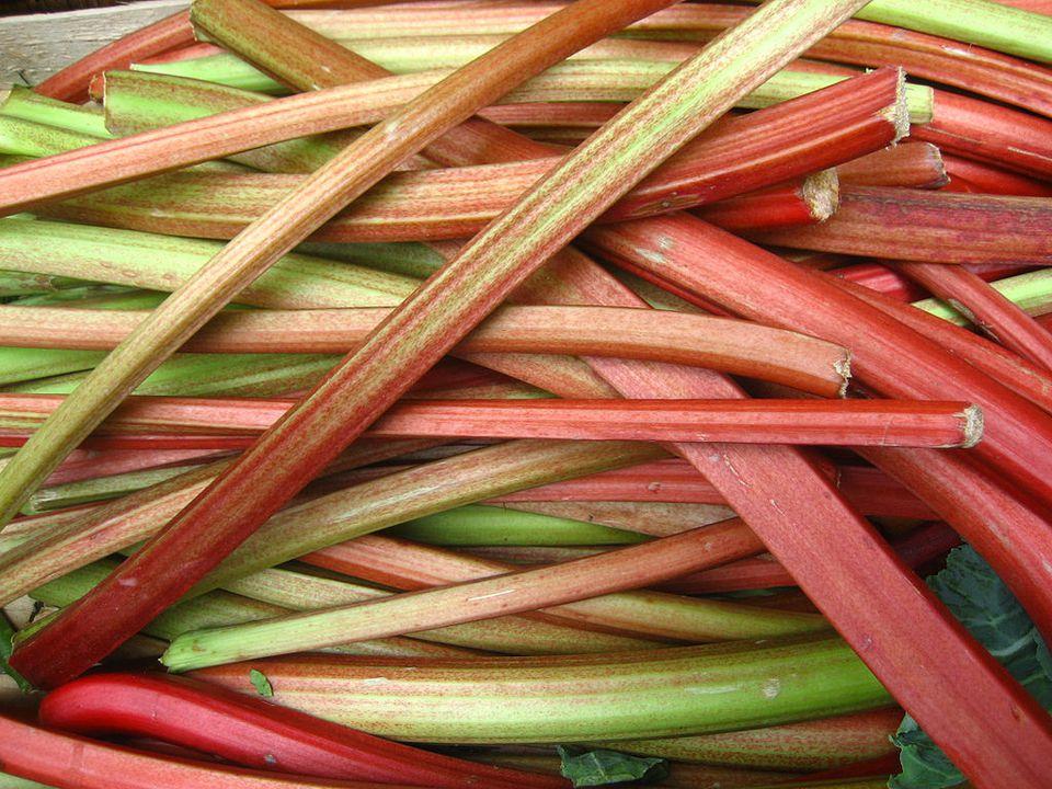 A stack of freshly cut rhubarb