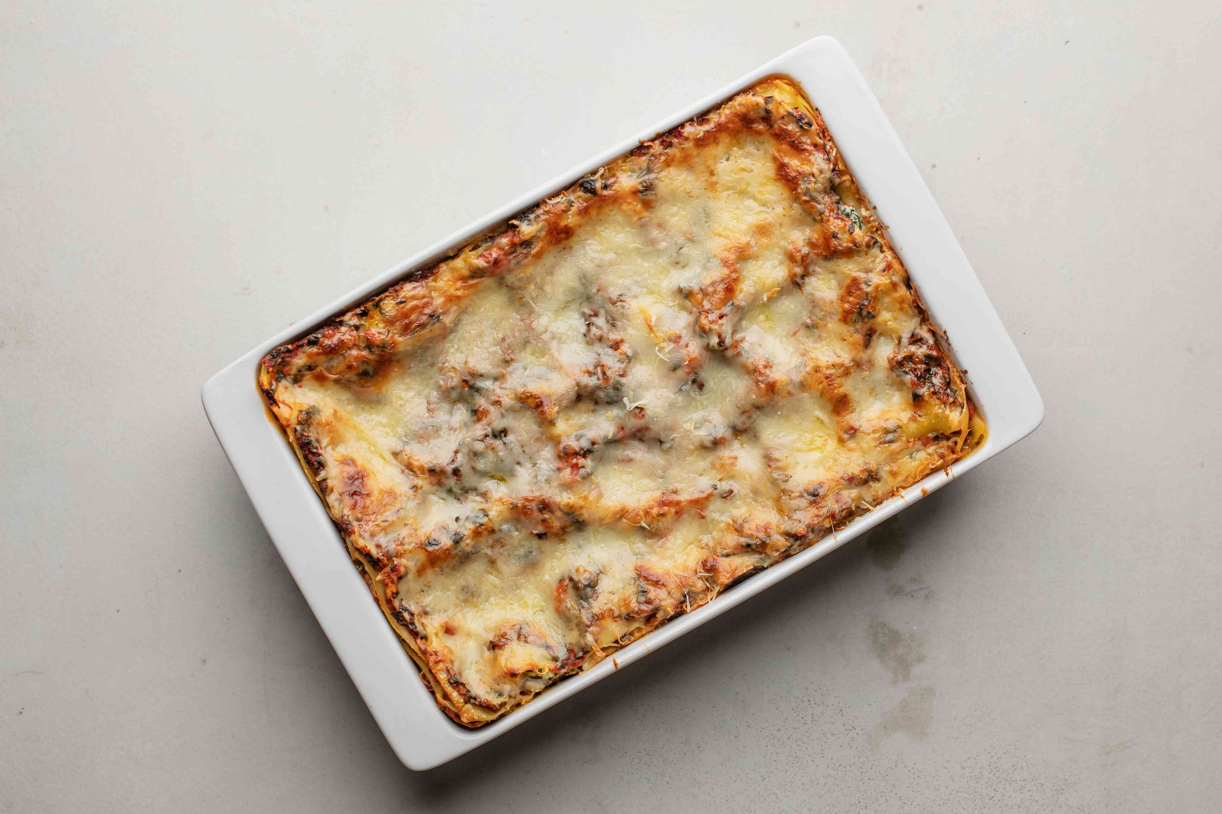 Bake lasagna for another 20 minutes until cheese has melted