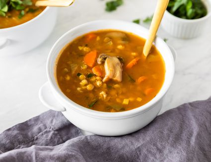 Barley vegetable soup with lentils