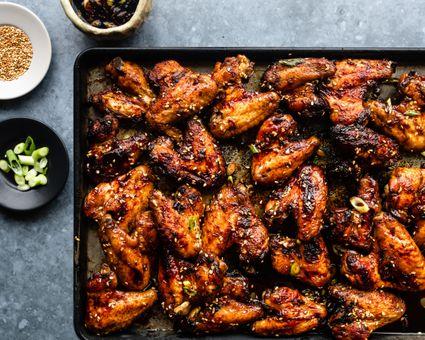 Baked teriyaki chicken wings on a sheet pan
