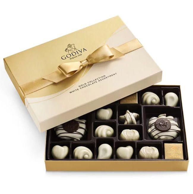 Godiva White Chocolate Assortment Gift Box Gold Ribbon