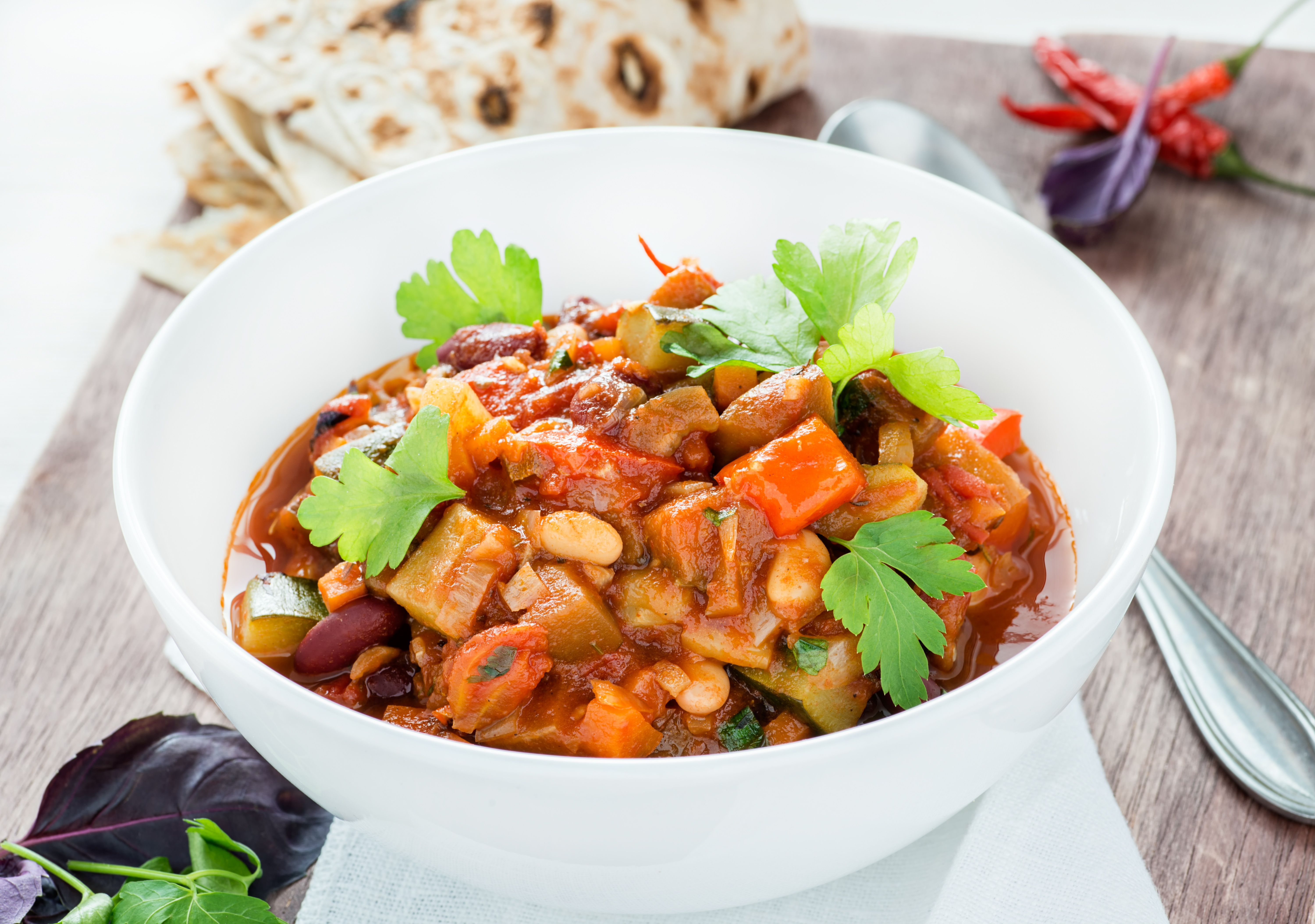 Vegetarian chilli with red and white beans in a bowl