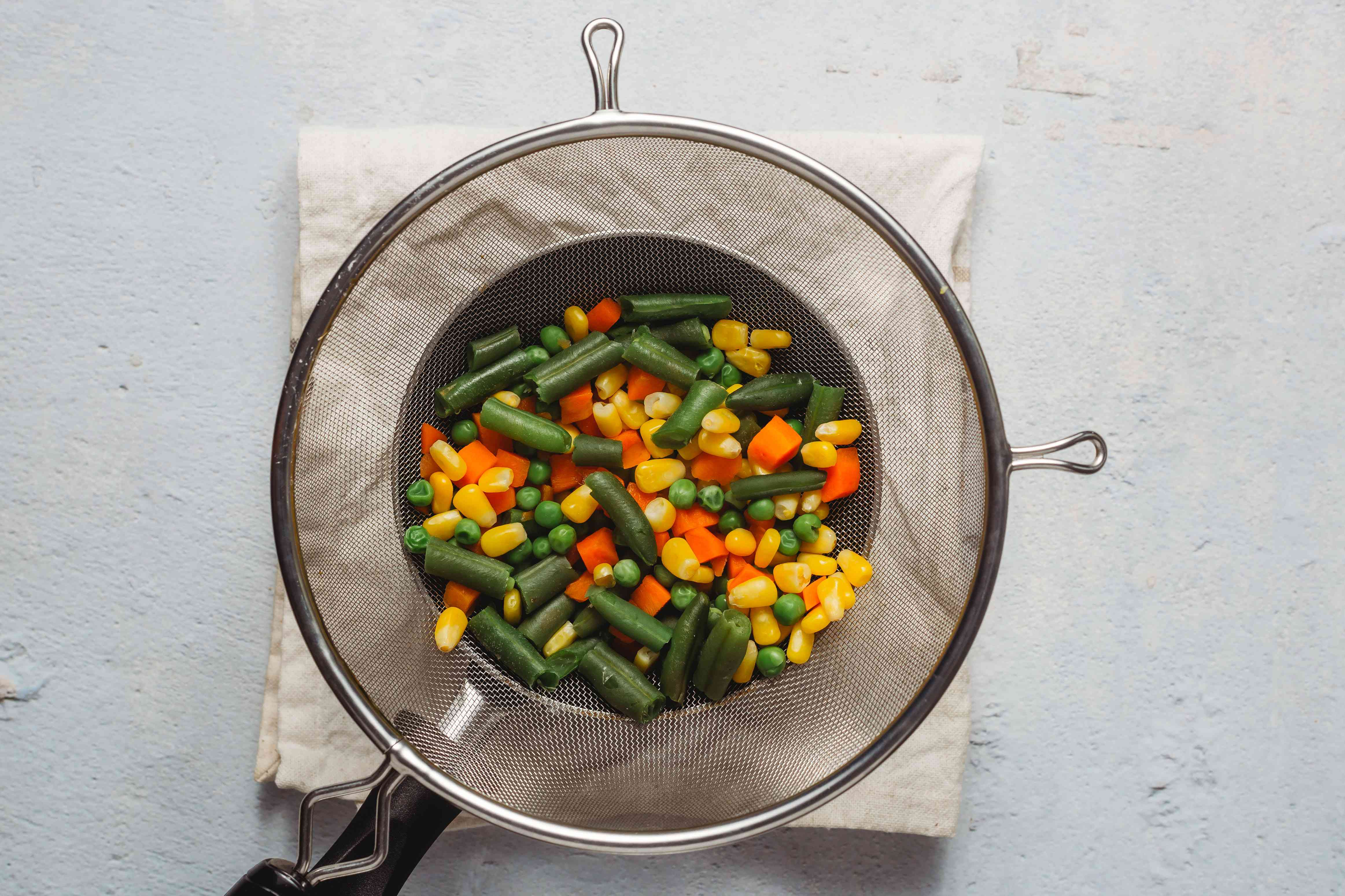 drained boiled vegetables
