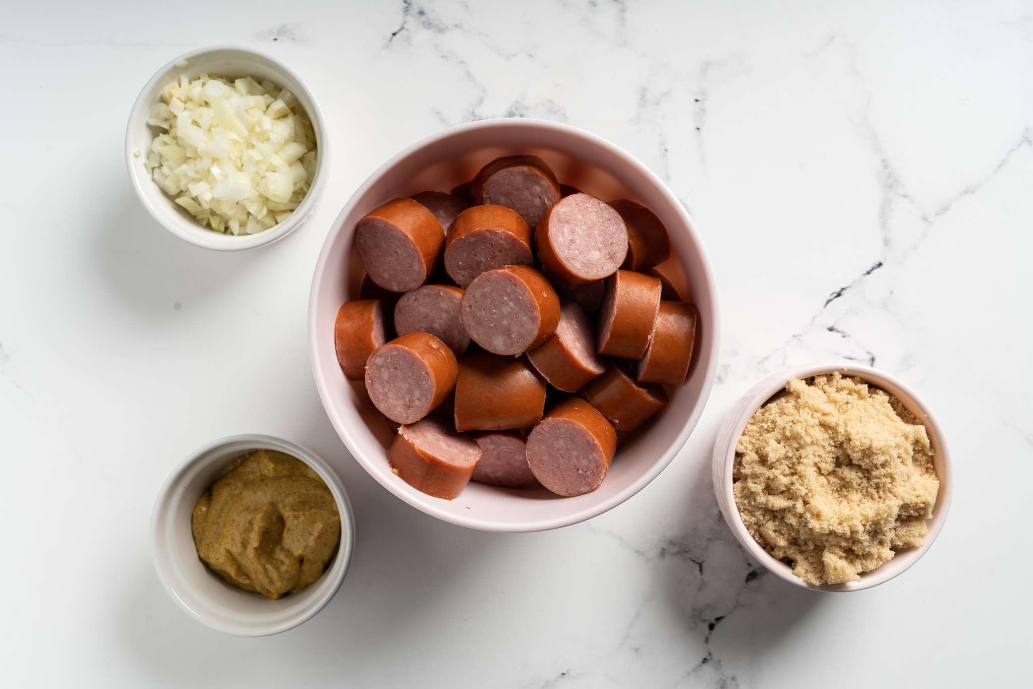 Sweet and Spicy Crock Pot Kielbasa ingredients