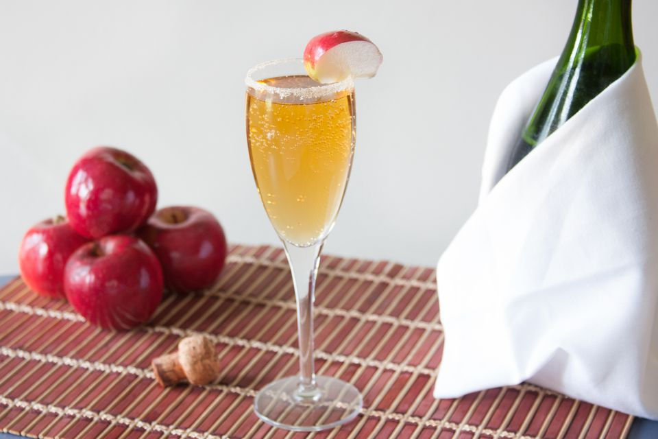 Apple Cider Mimosa With Apple Garnish and Cinnamon Sugar Rim