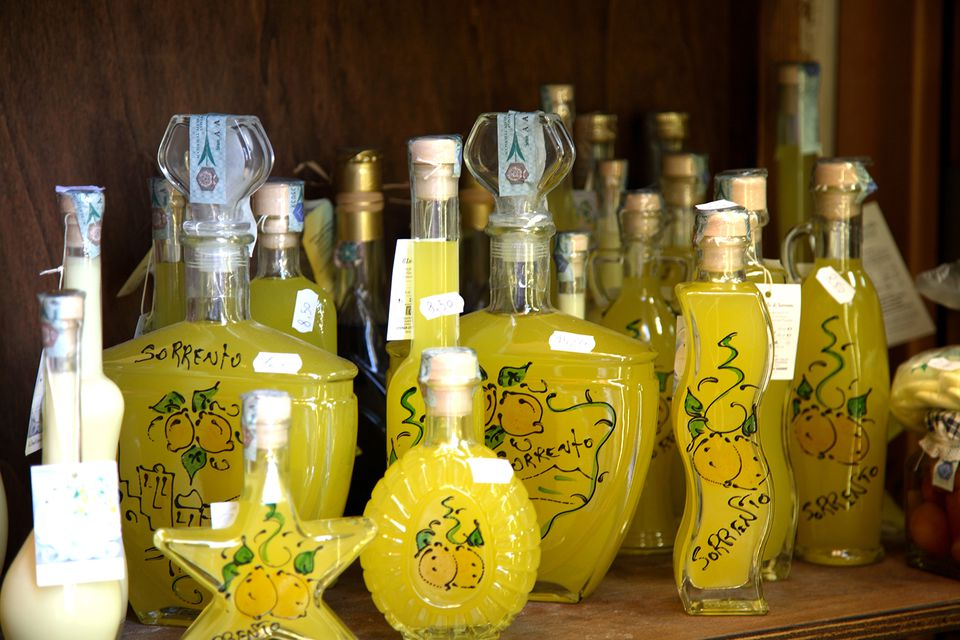 Bottles of limoncello. Sorrento, Campania, Italy, Europe