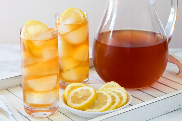 Iced Tea Pitcher and Glasses on Tray