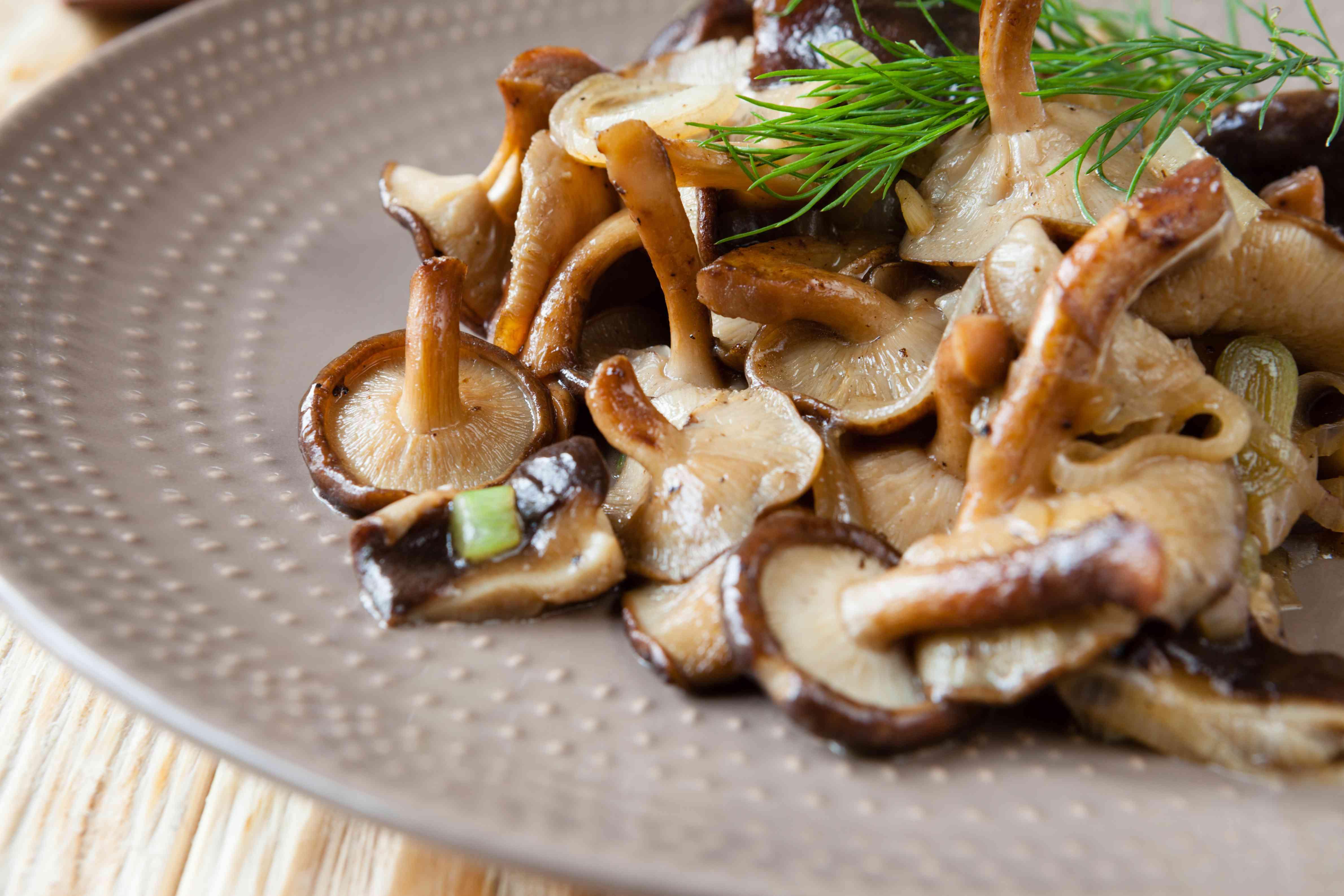 roasted shiitake mushrooms on a plate