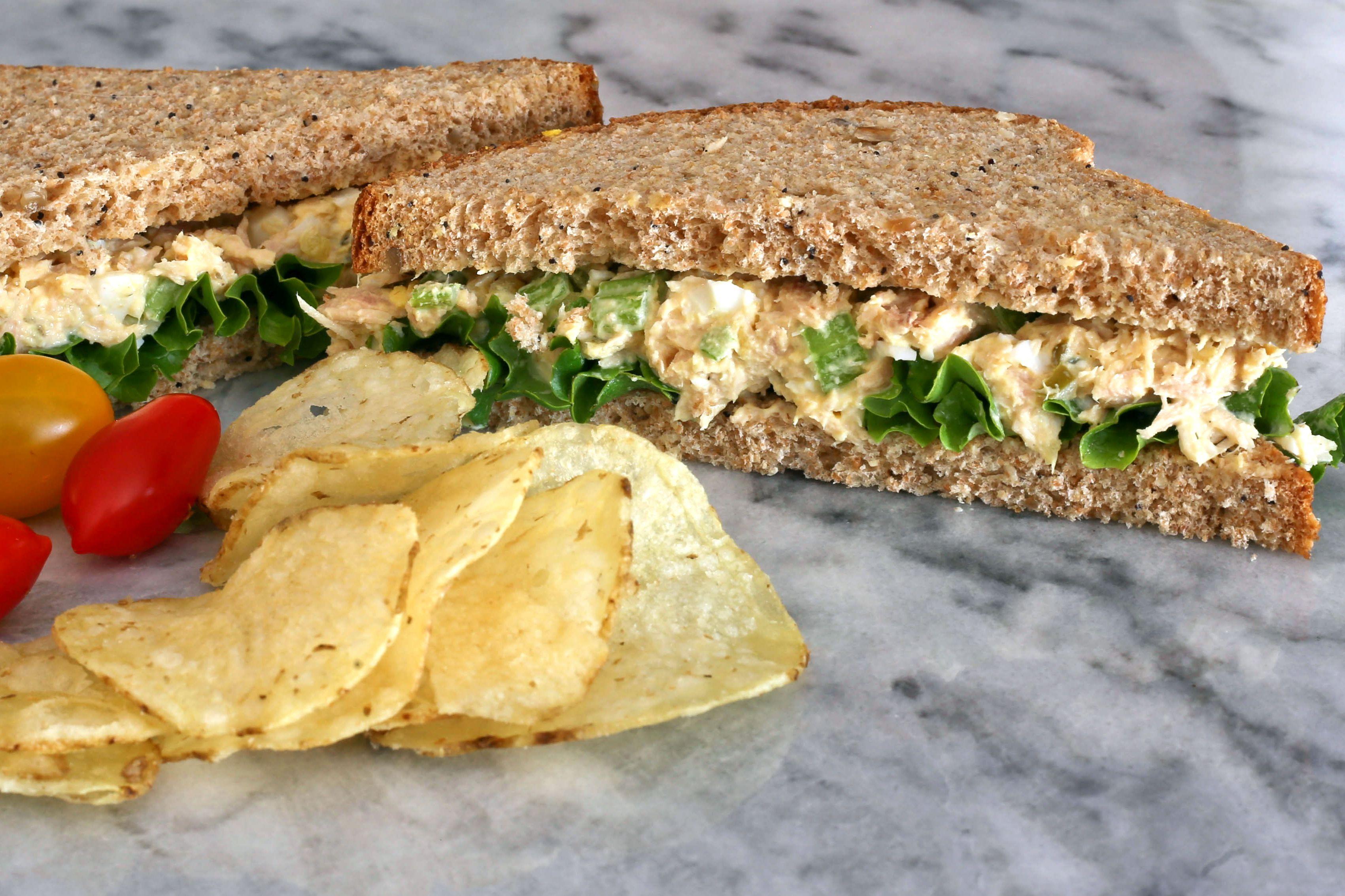 tuna sandwich and chips