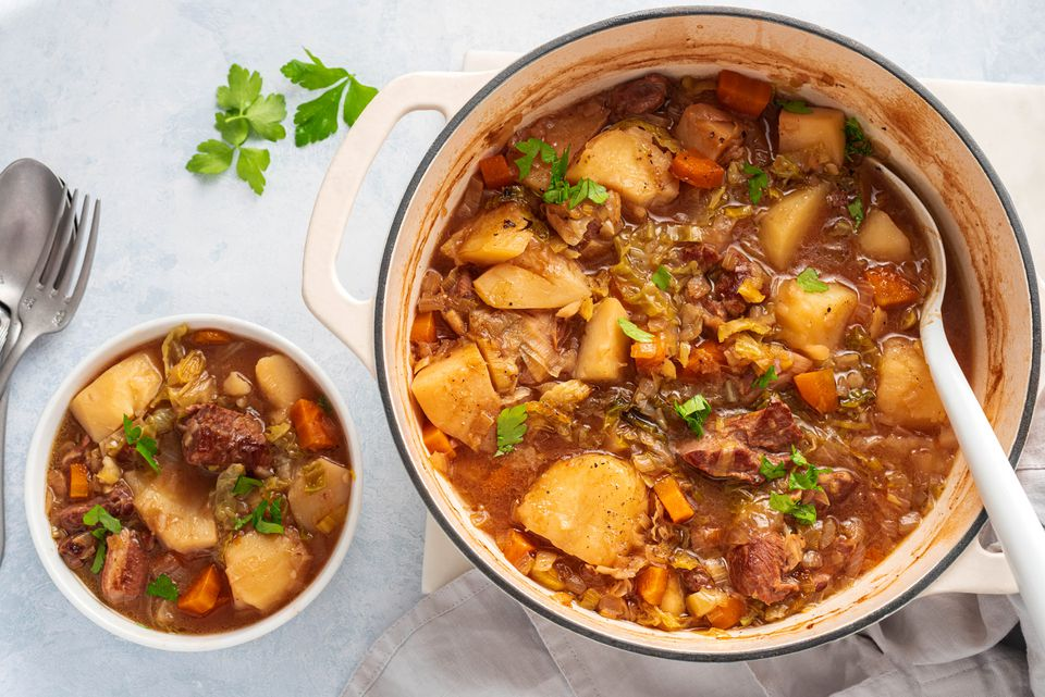 Traditional Irish Stew in a casserole and a small bowl