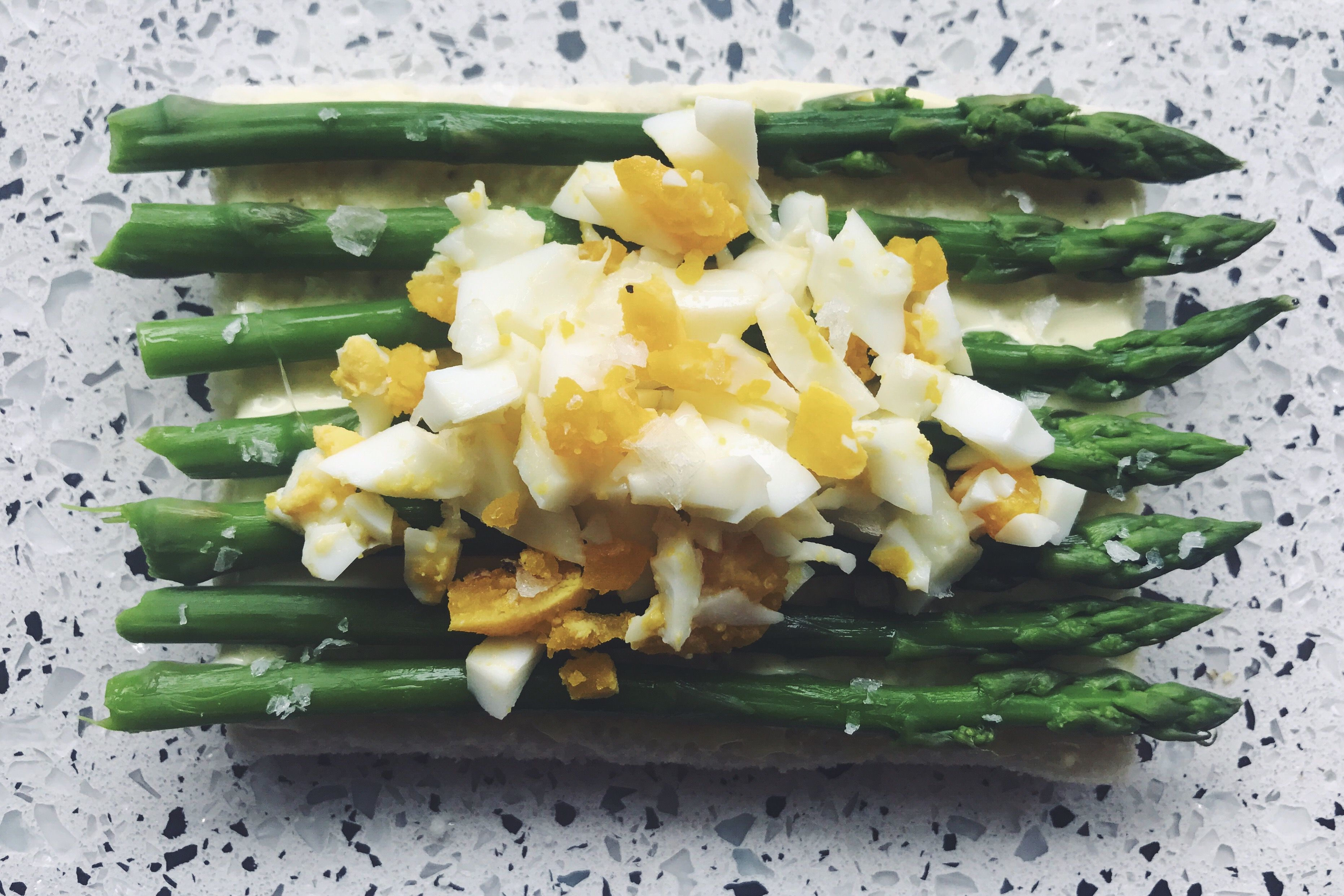 Tramezzini with Asparagus, Chopped Egg and Salt Flakes