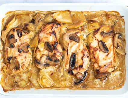Chicken, Artichoke, and Mushroom Casserole