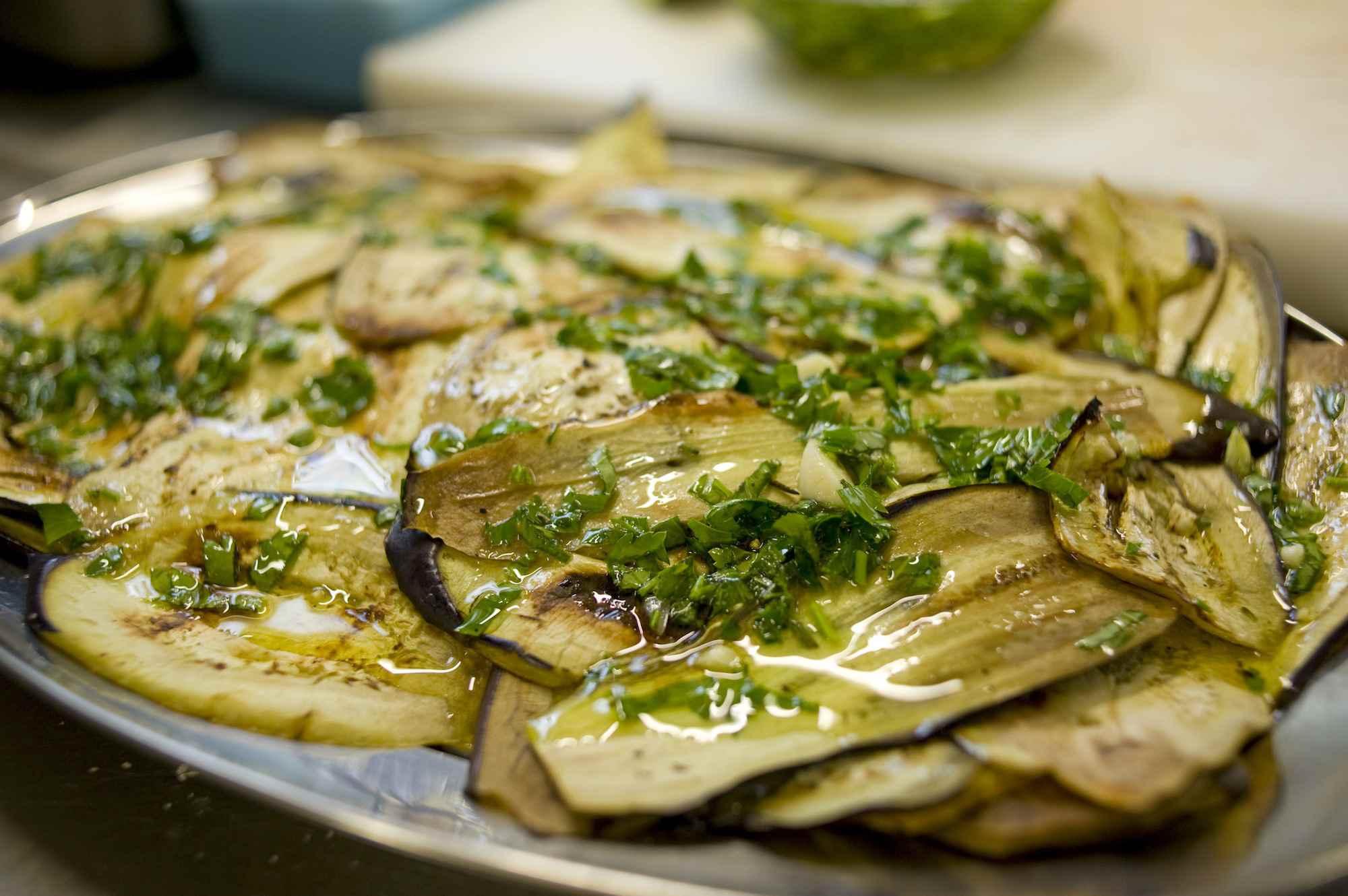 Grilled aubergine, Italian starter, antipasti