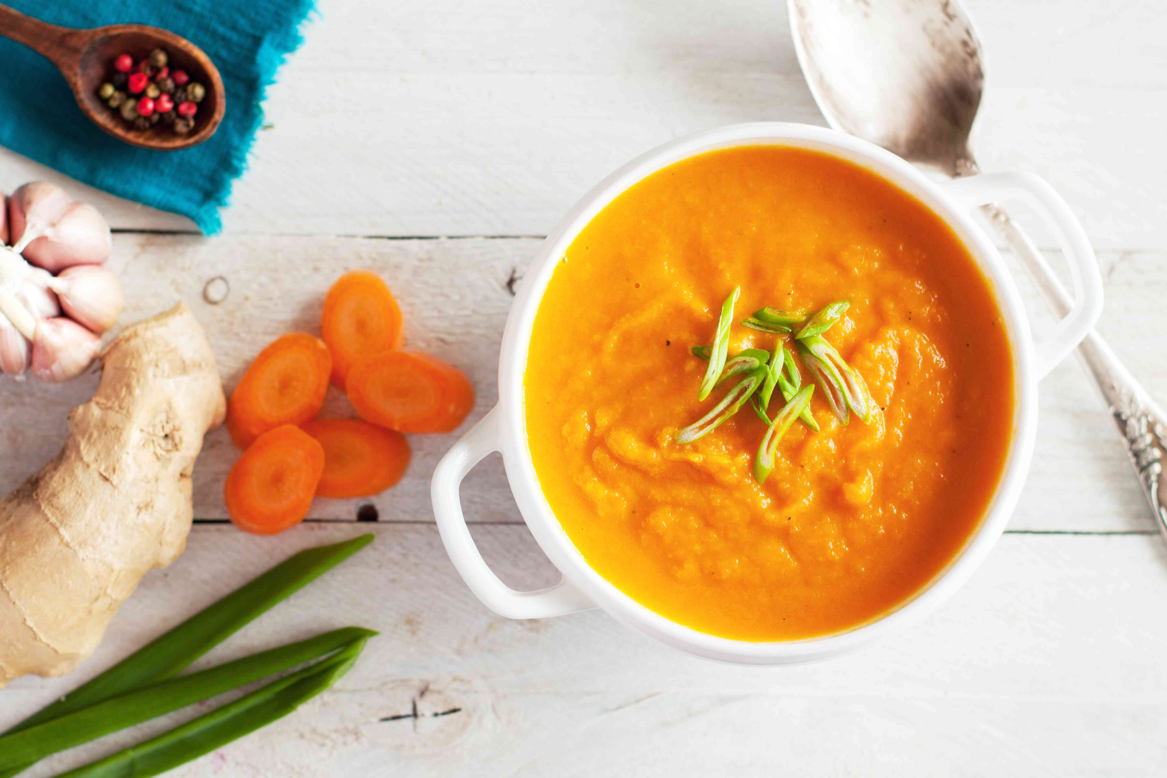 Carrot ginger cream soup with ingredients