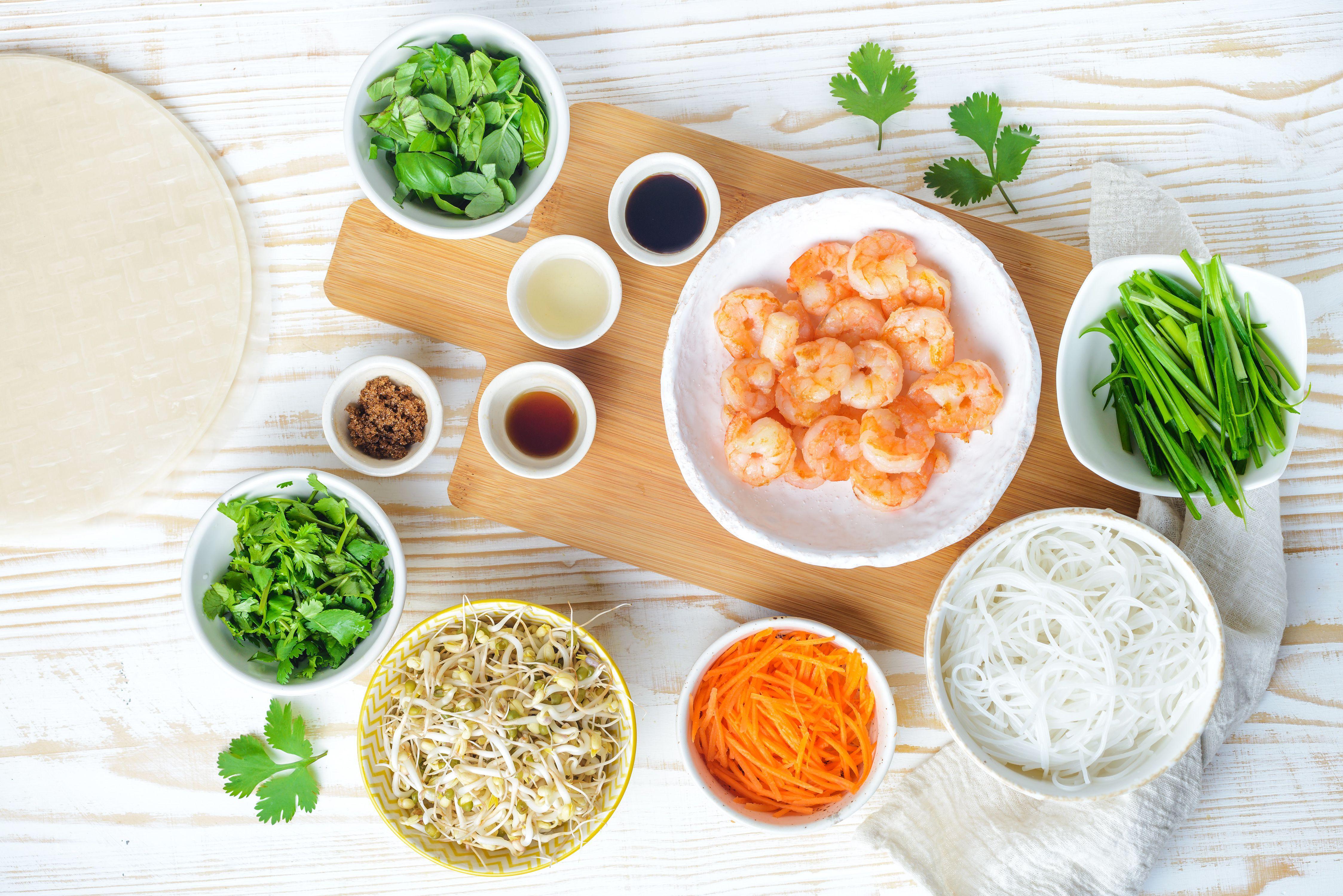 Ingredients for Thai fresh spring rolls