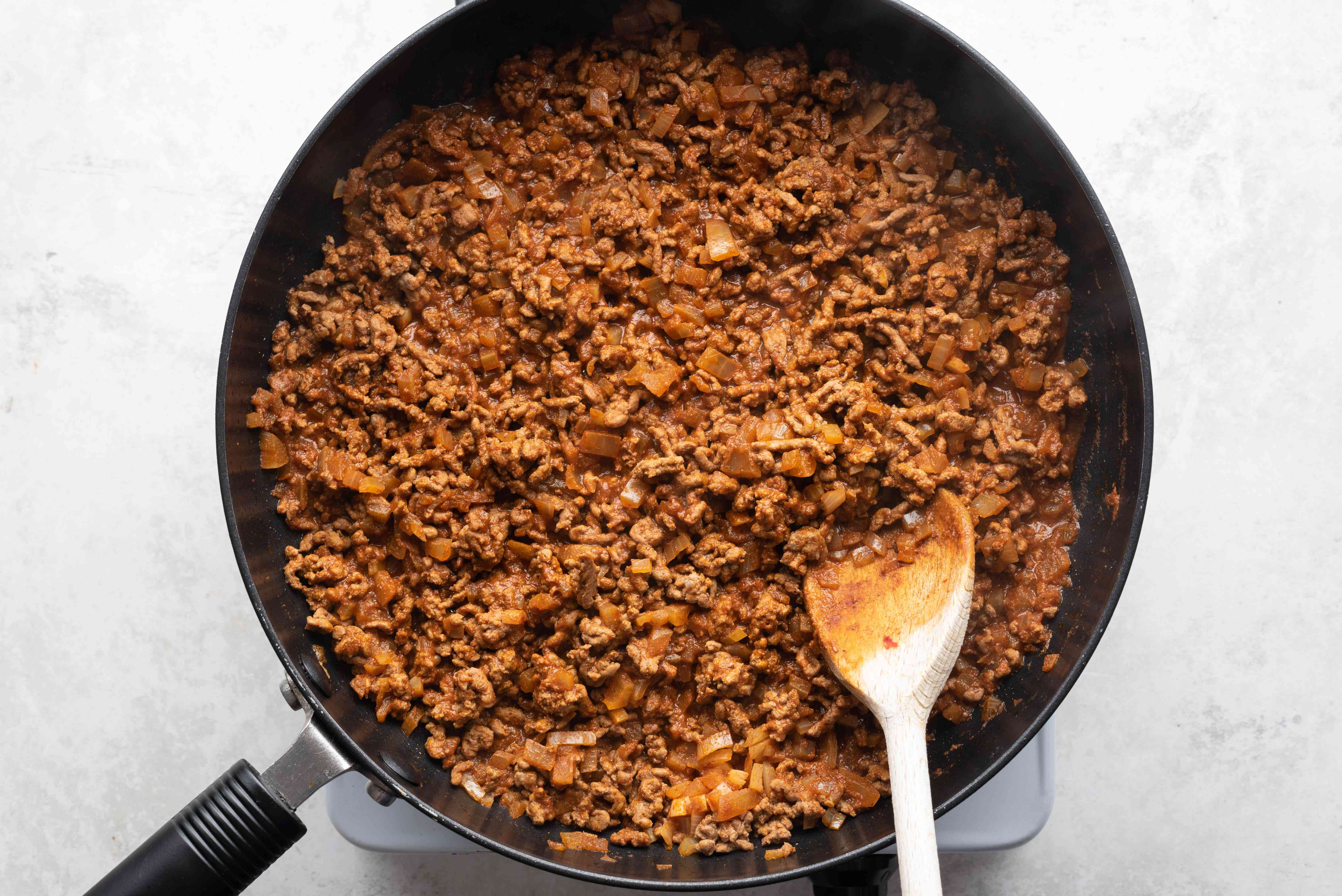 beef mixture cooking in a pan