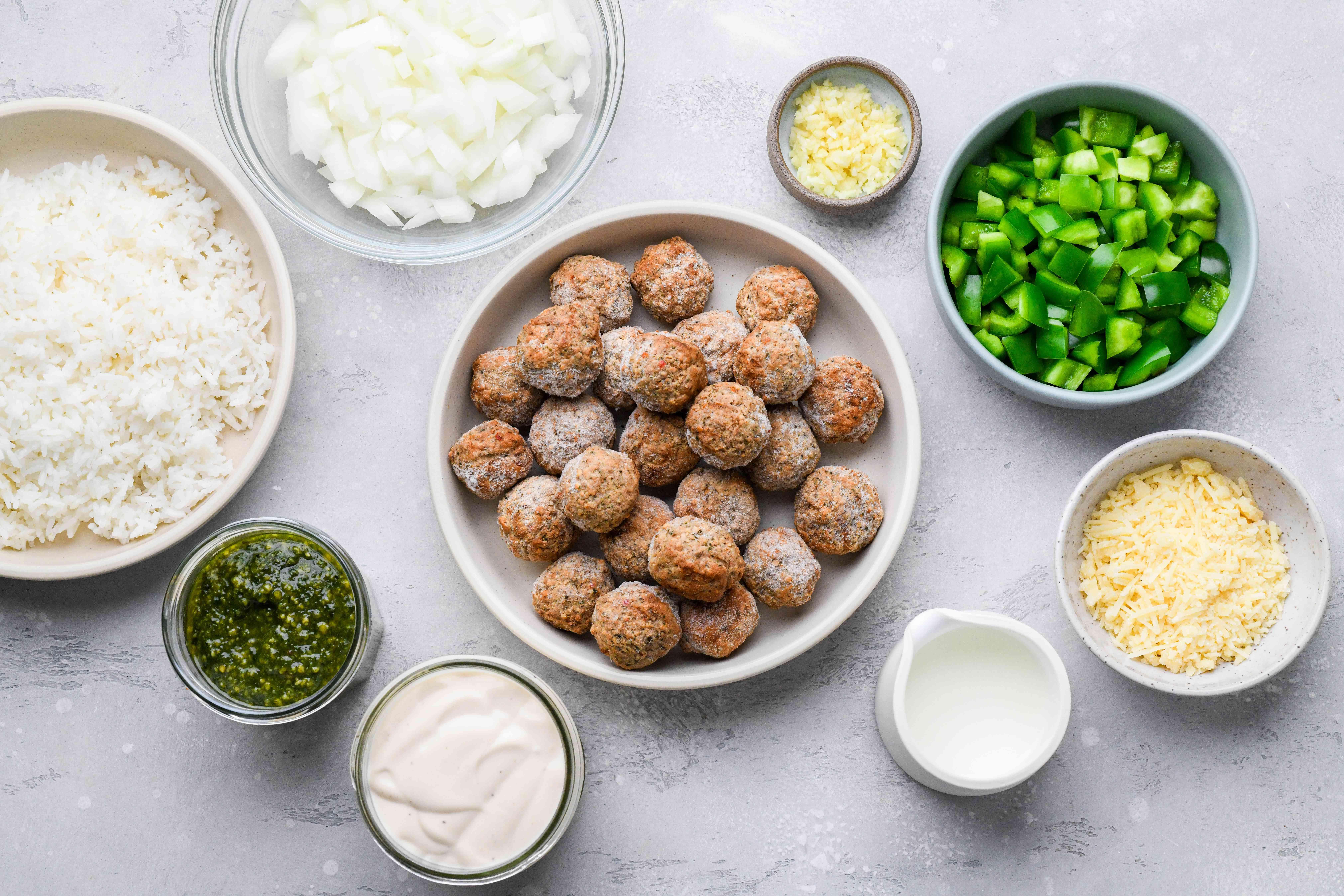 Creamy Pesto Meatballs ingredients