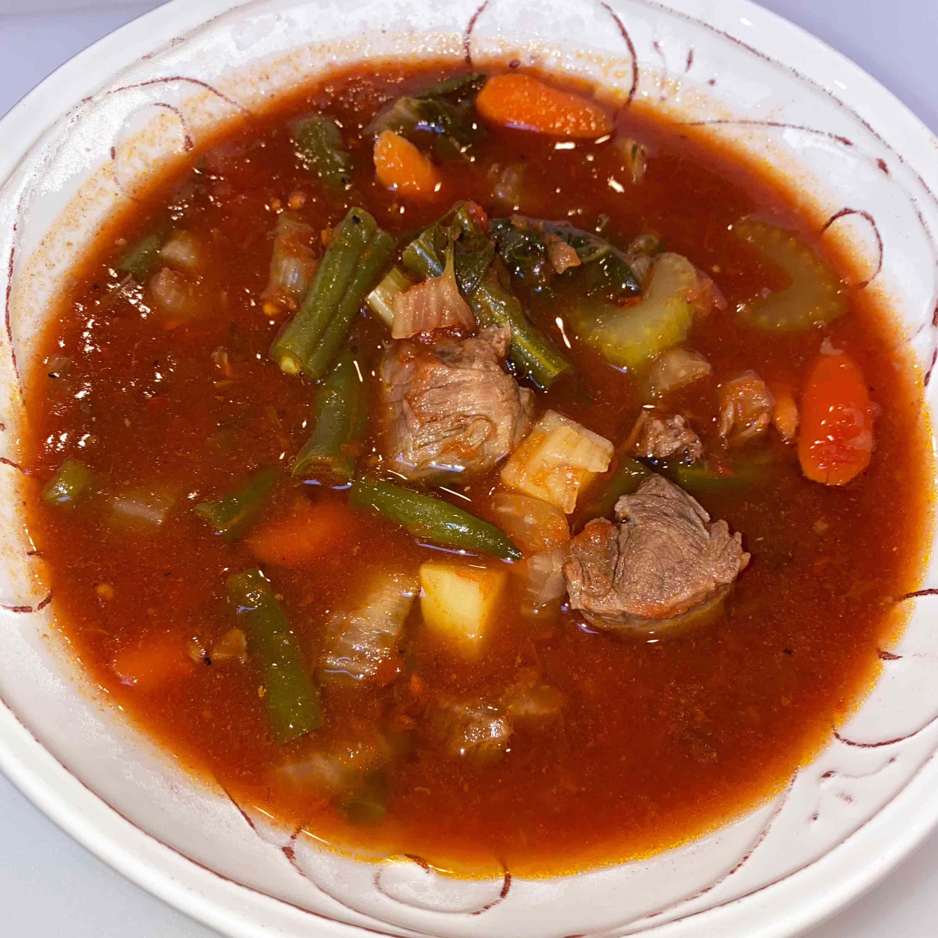 Hearty Old Fashioned Vegetable Beef Soup Tester Image