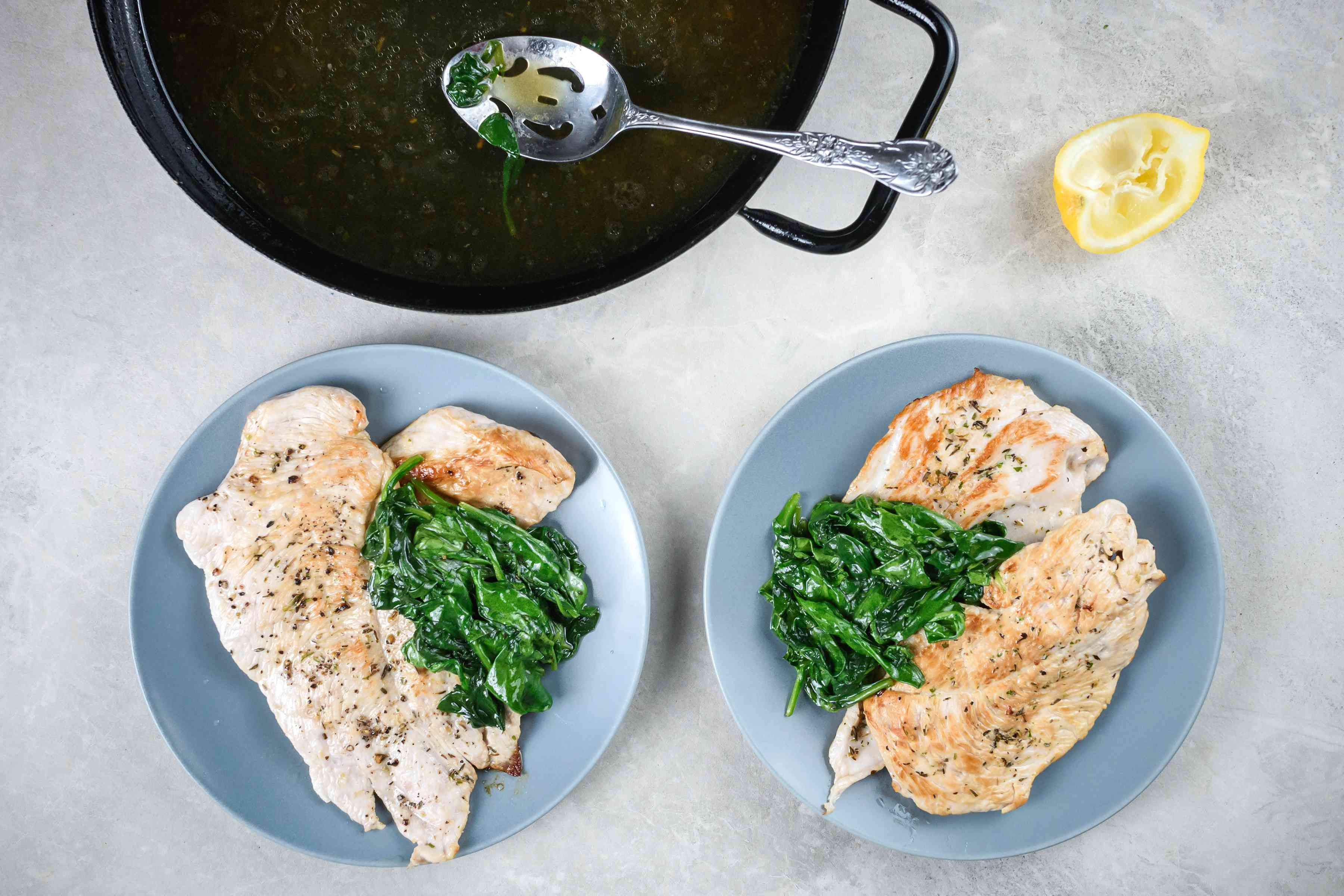 Adding greens and lemon juice to the turkey breasts