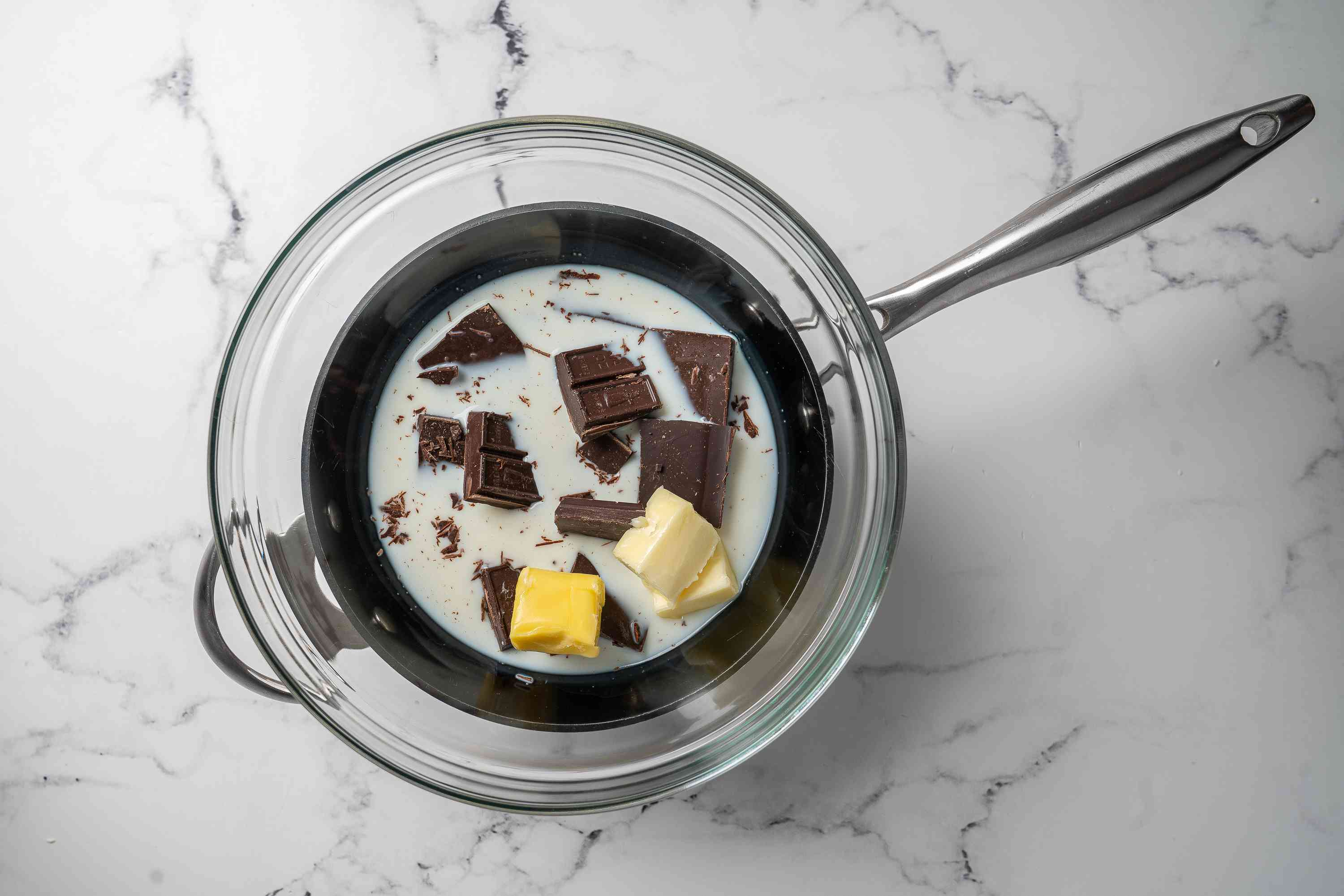 Chocolate, milk, and butter melting