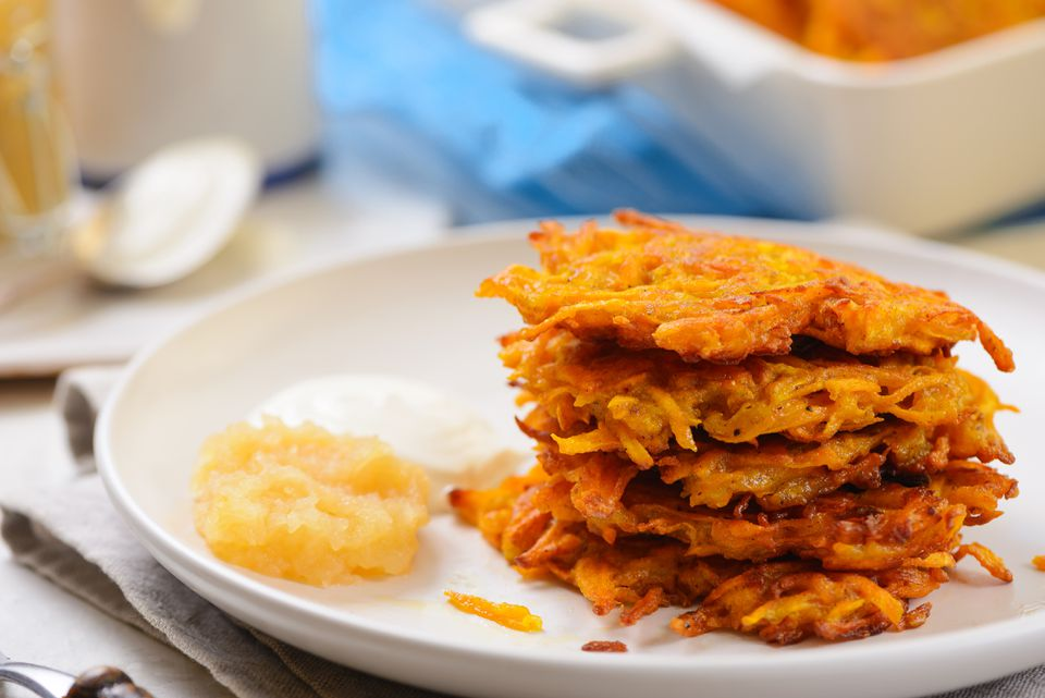 Curried sweet potato latke