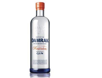 Bottle of Damrak gin, with unique botanicals including citrus and honeysuckle