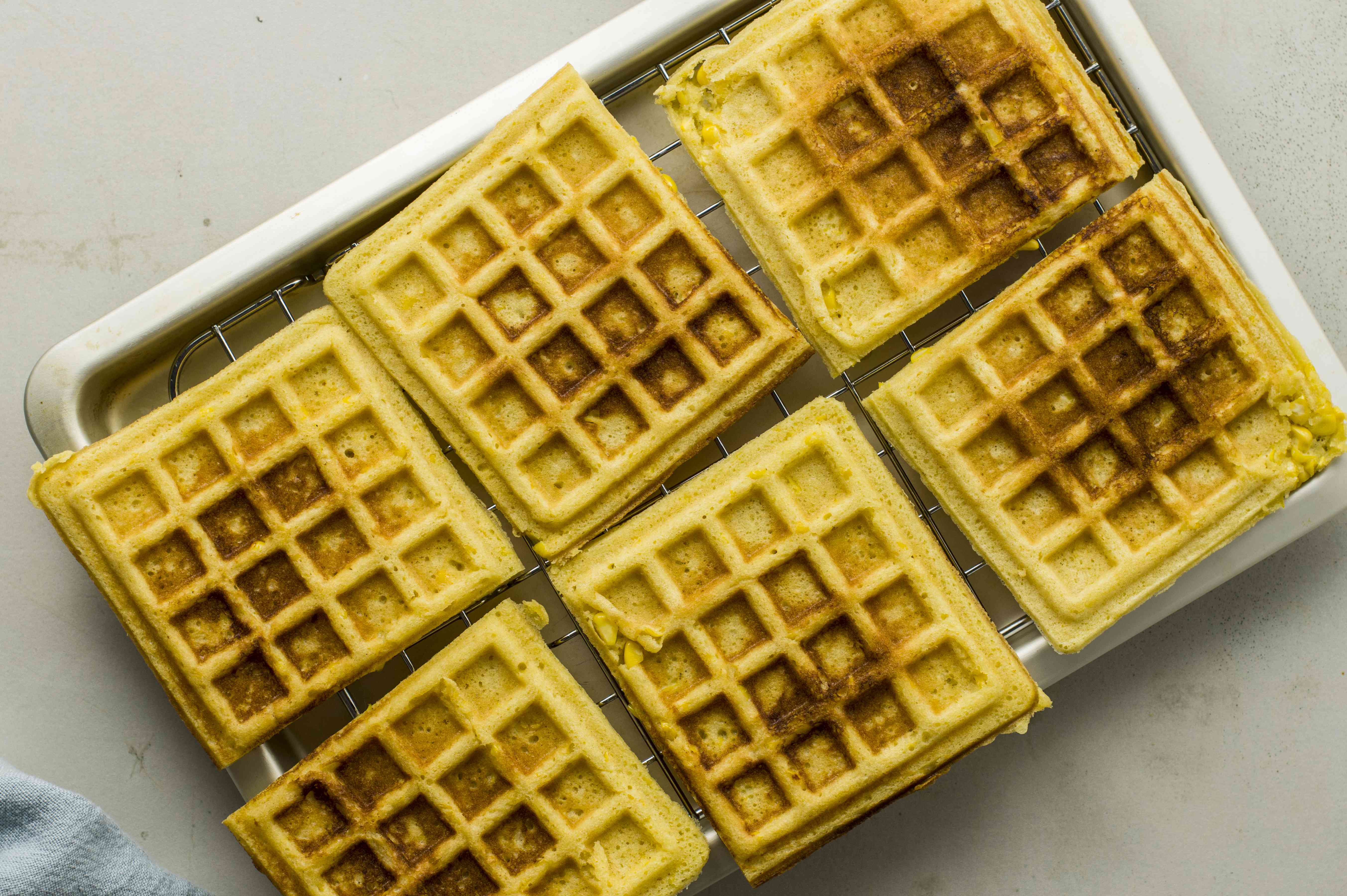 Place cooked waffles on cooling rack