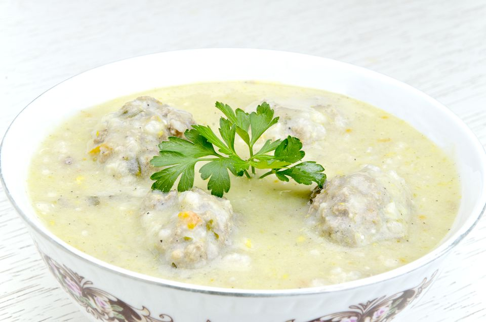 Greek meatball soup