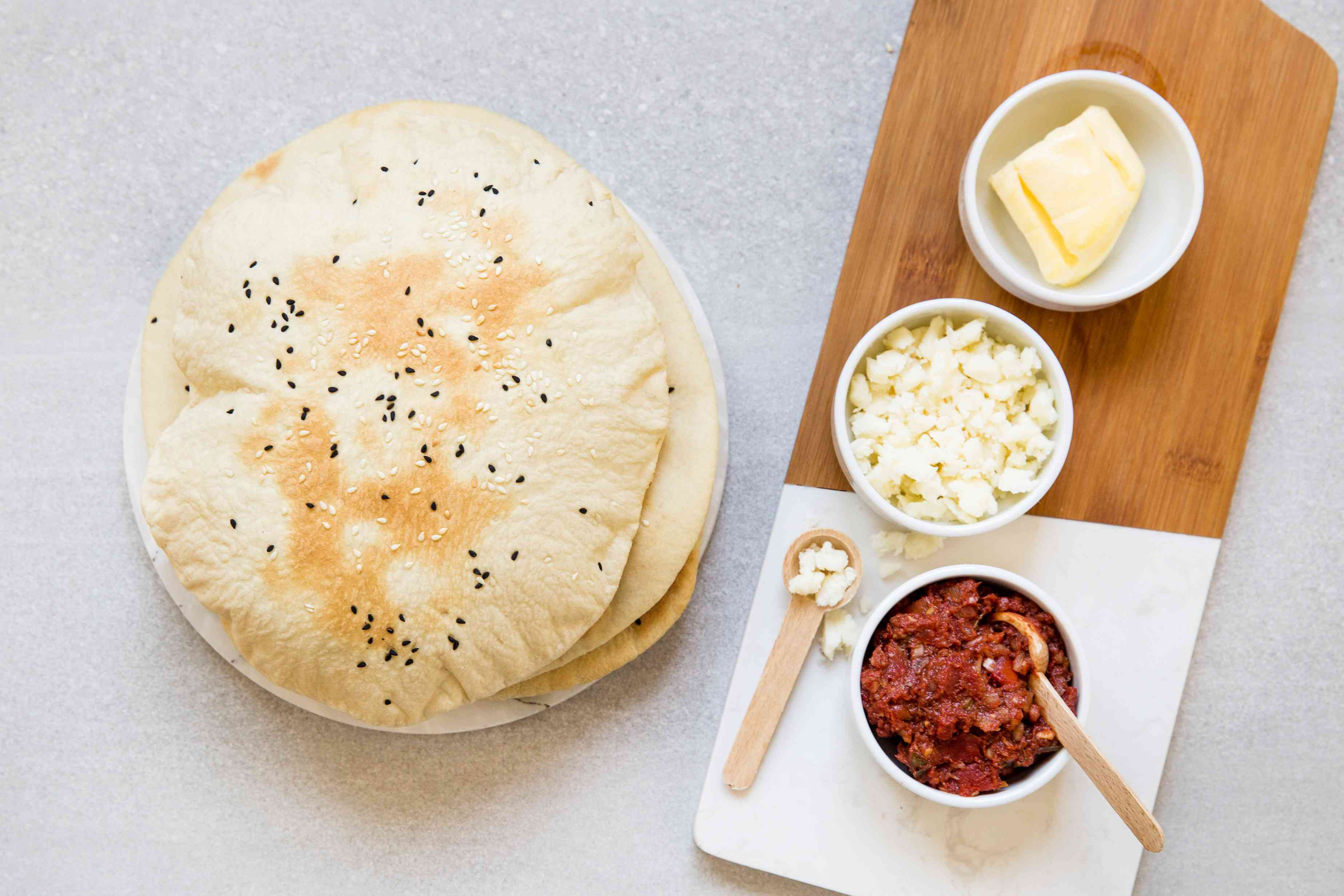 Authentic Turkish Lavas Puff Bread with toppings