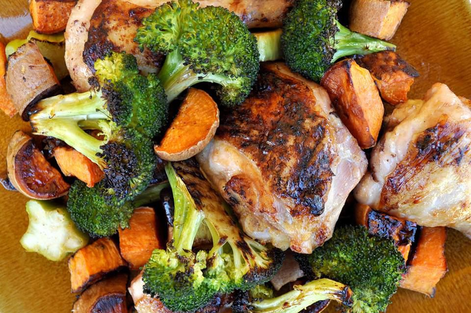 sheet pan chicken, sweet potatoes, and broccoli