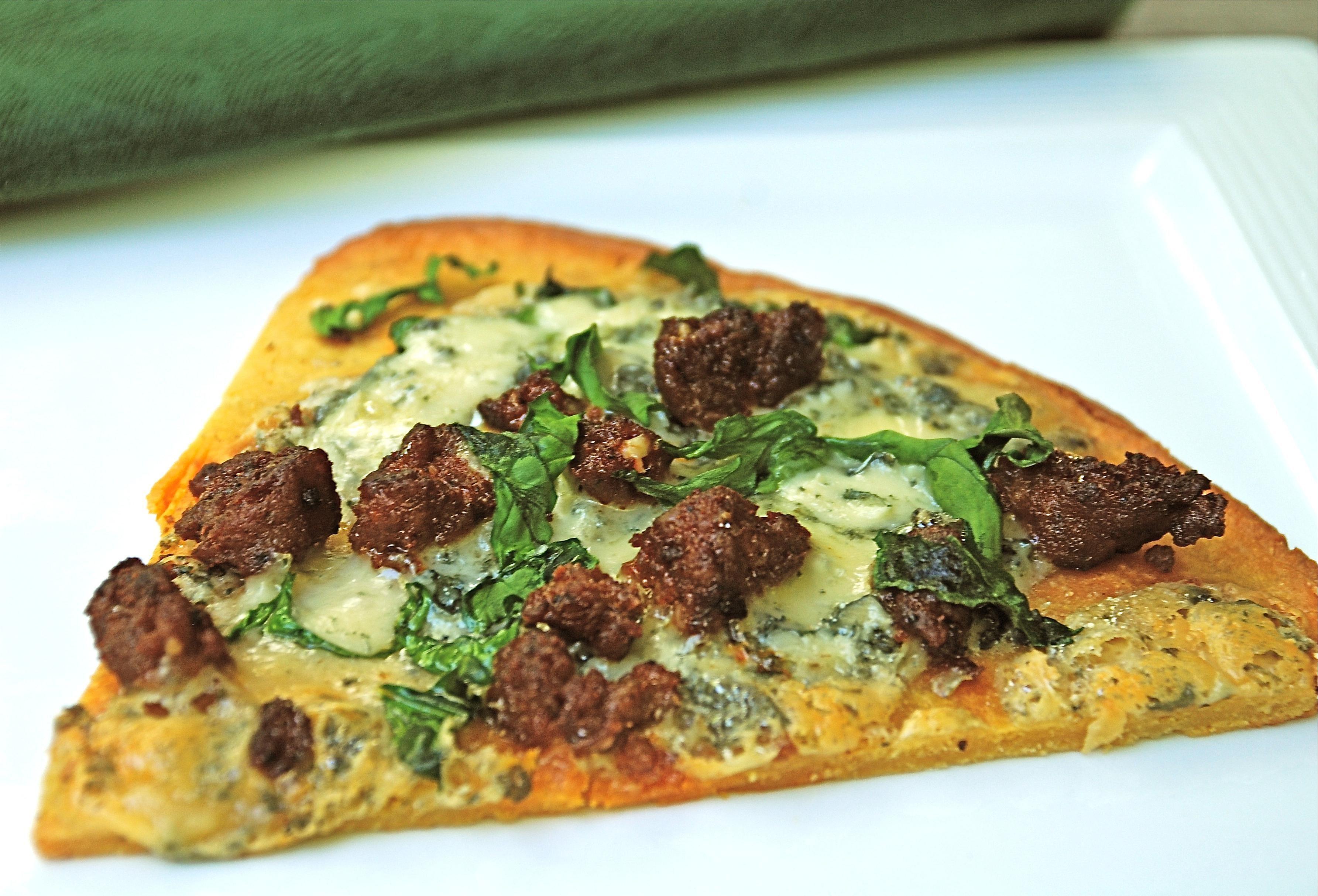Fainá with Chorizo, Blue Cheese, and Spinach