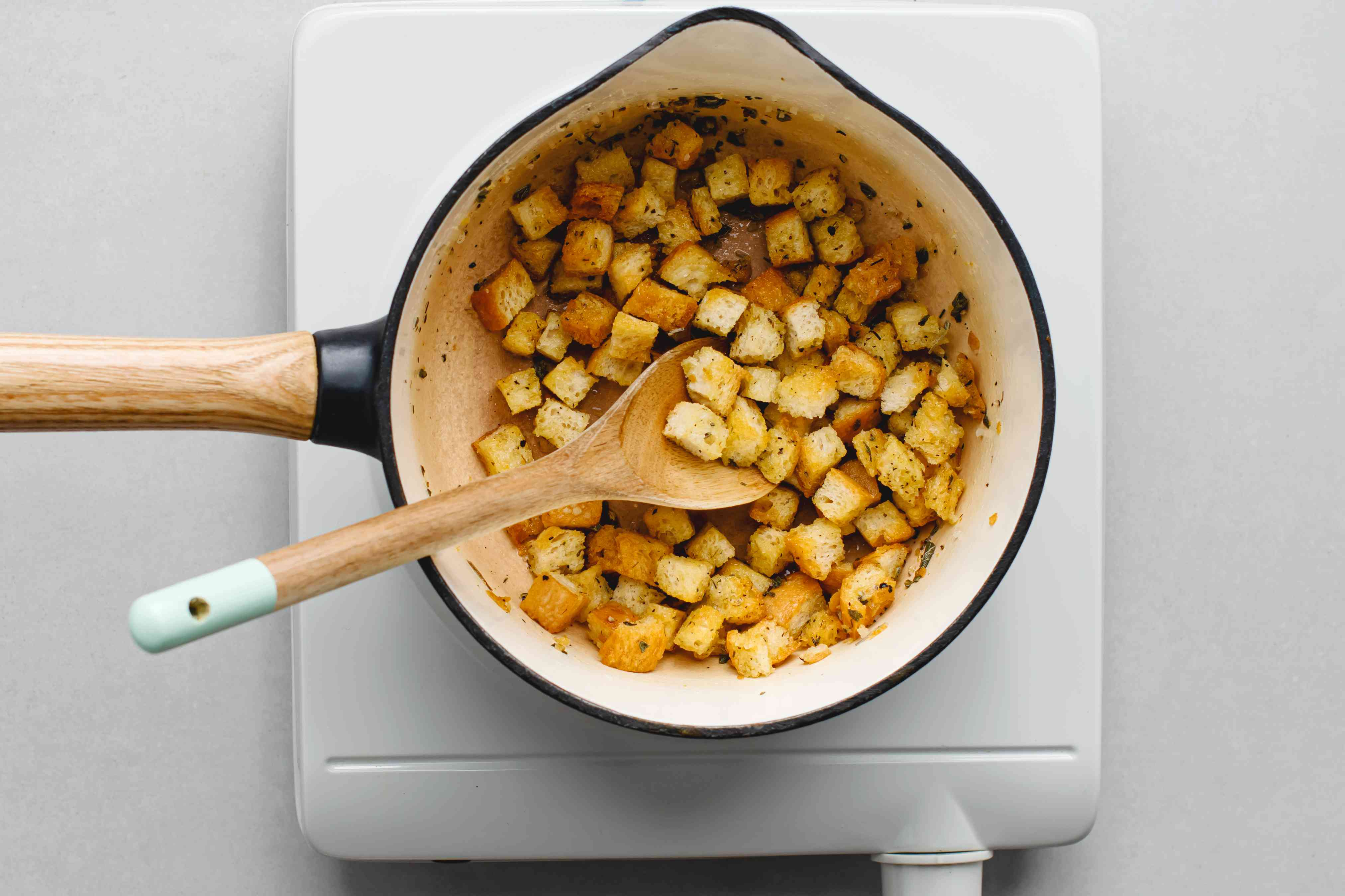 stuffing cubes and butter in a pan