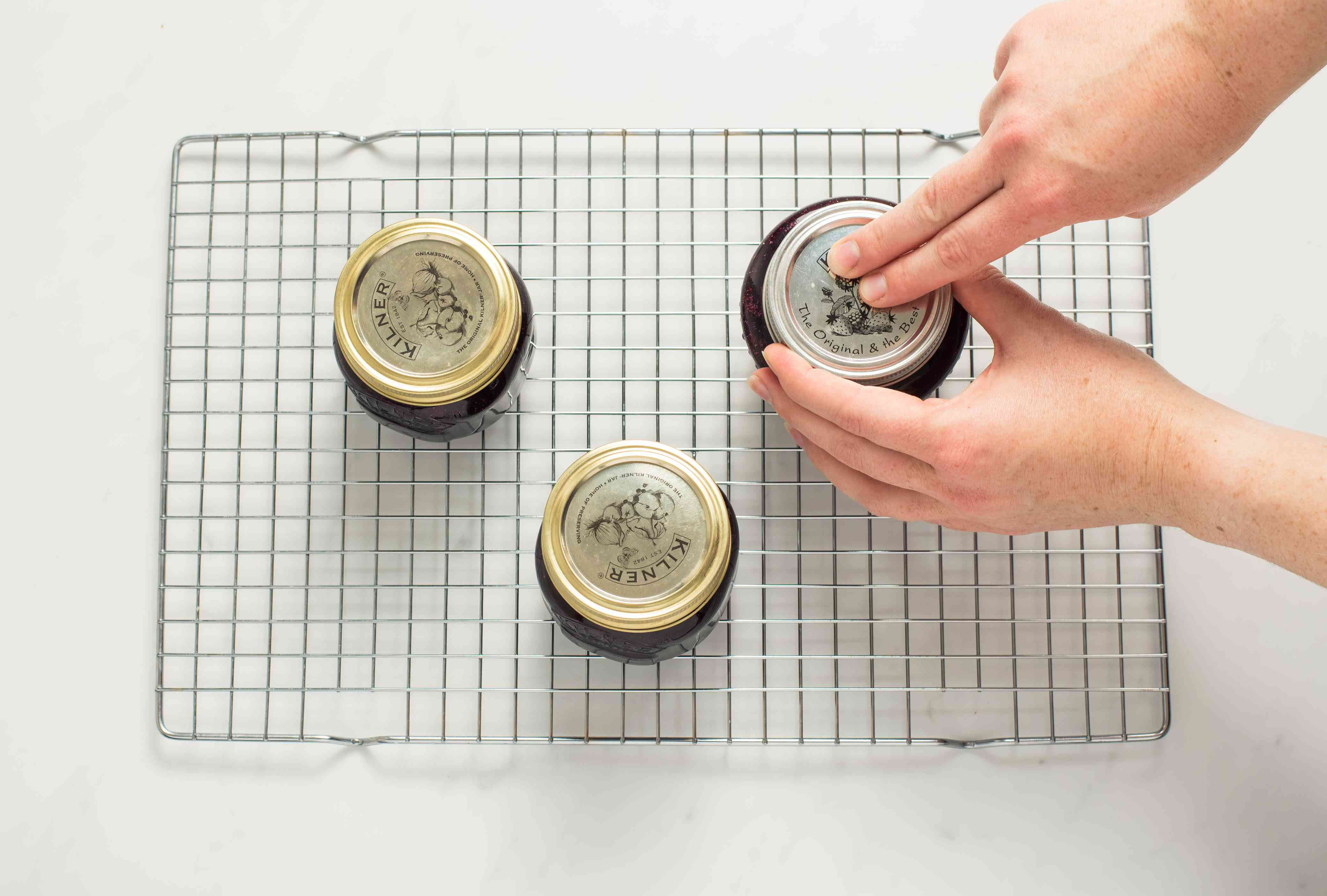 Checking the seals on the jars