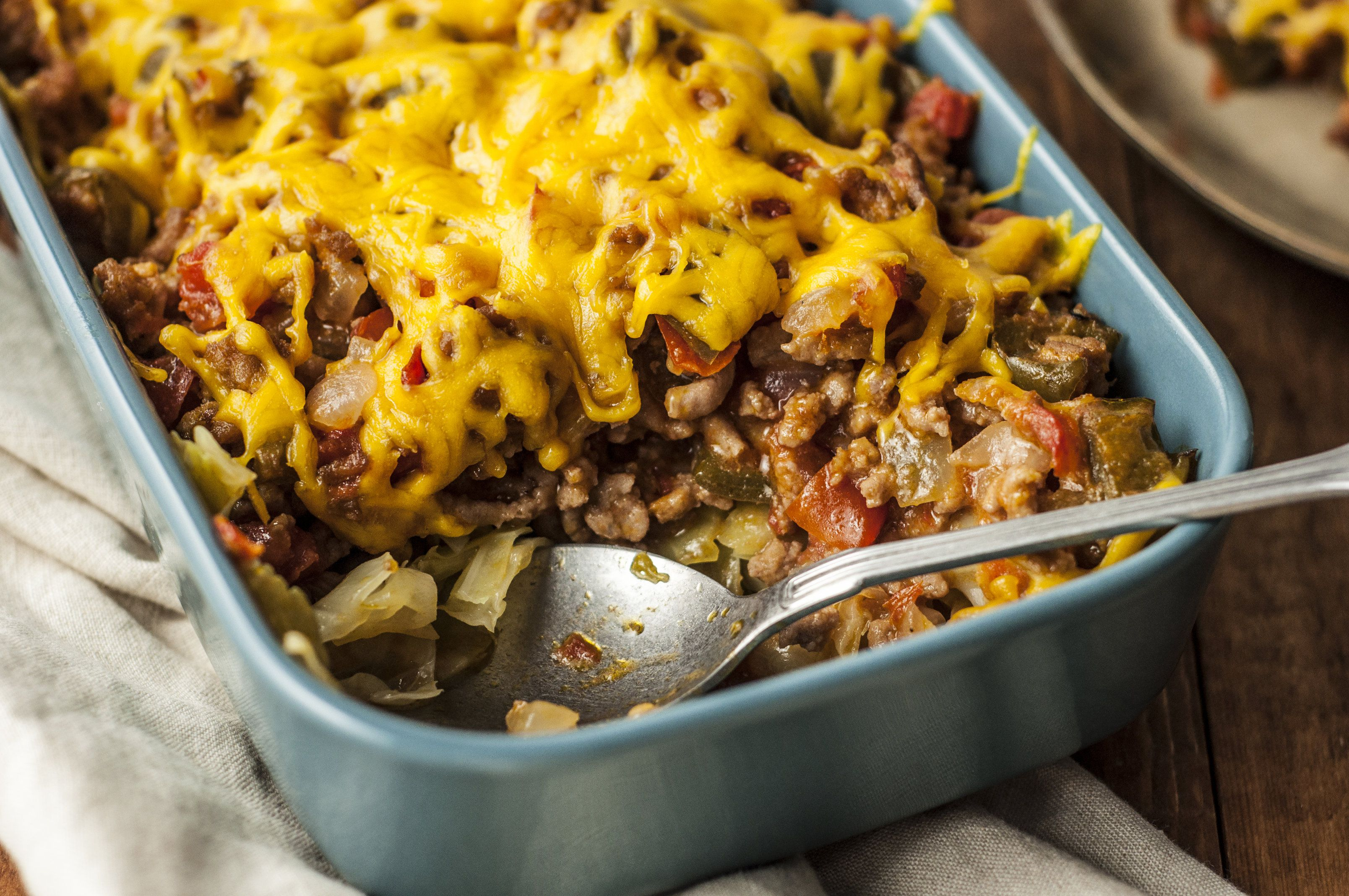 Ground beef and cabbage casserole with melted cheese