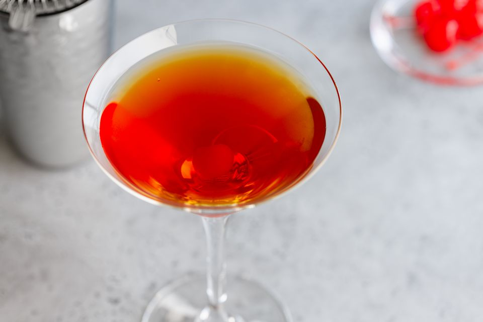 Perfect Manhattan Cocktail with Knob Creek Bourbon Whiskey