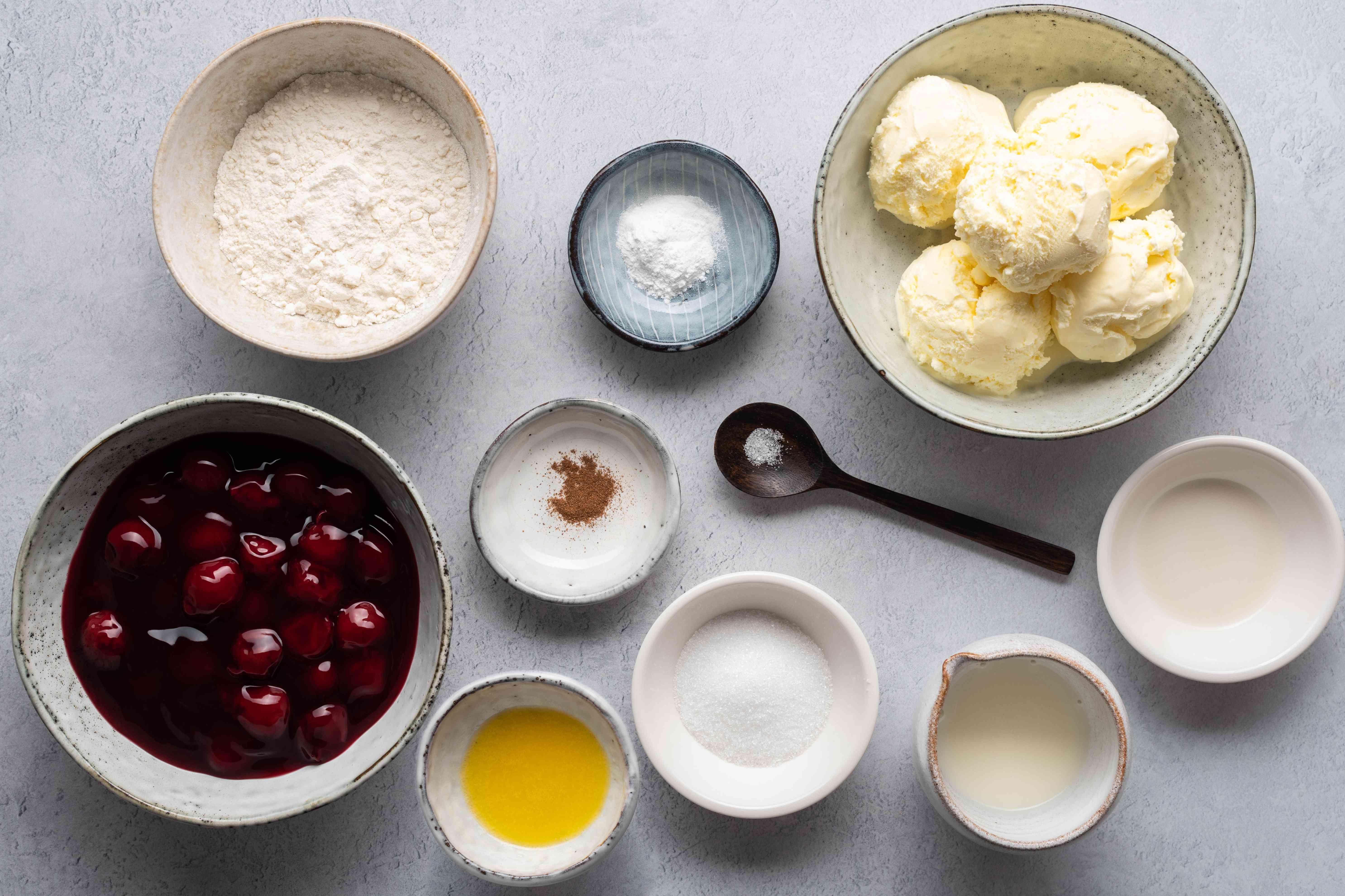 mug pie ingredients gathered