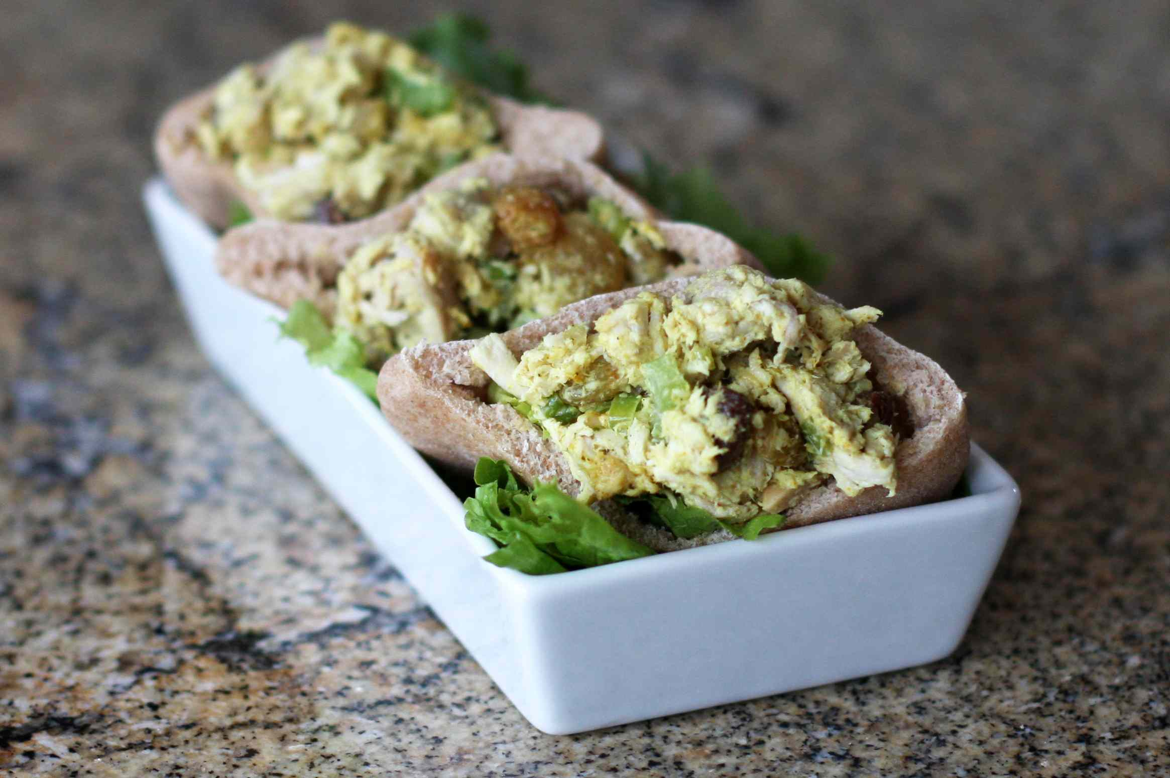Chicken Salad With Curry in Mini Pita Pickets