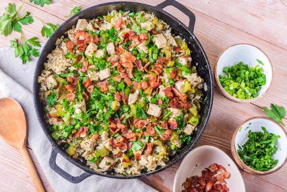 Cajún al horno Turquía y arroz Jambalaya