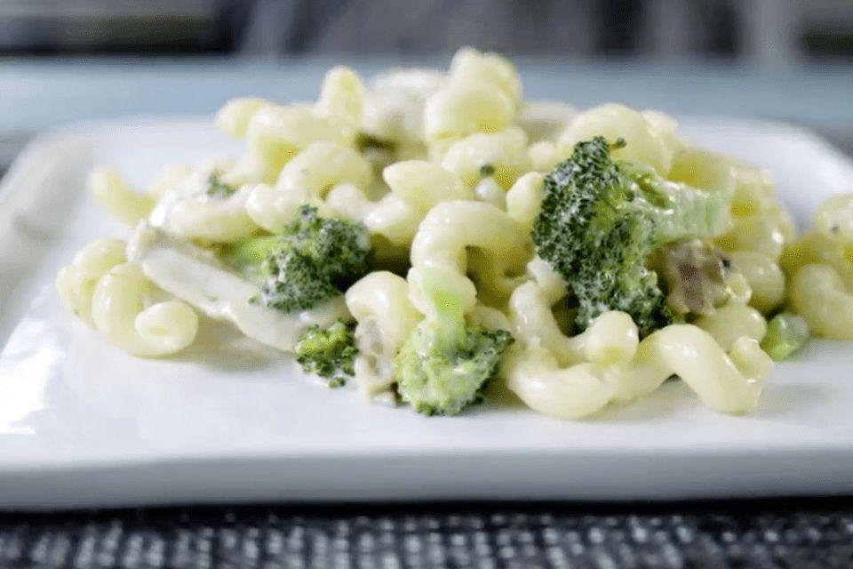 Chicken and broccoli Alfredo.