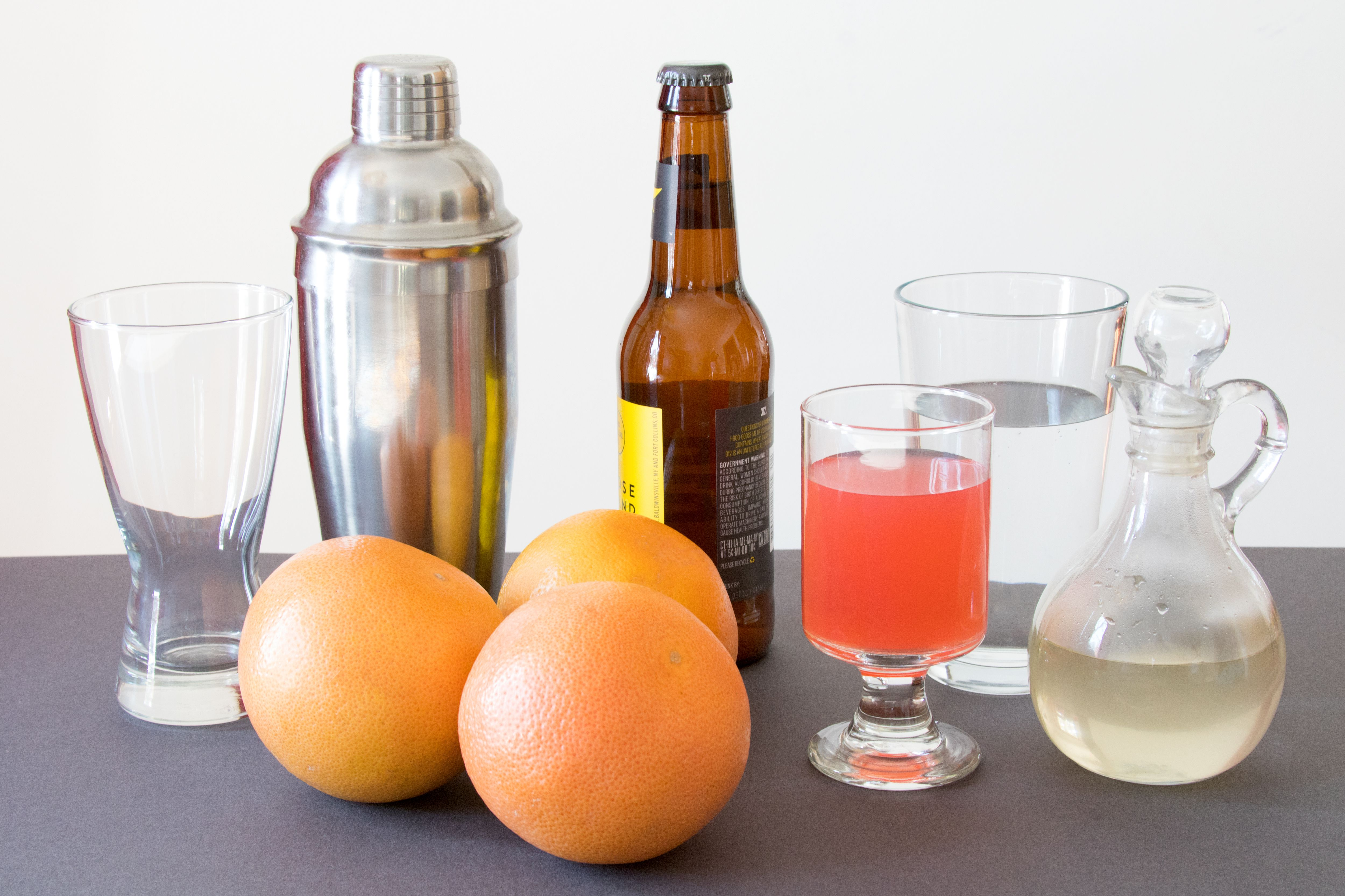 Ingredients for a Grapefruit Shandy